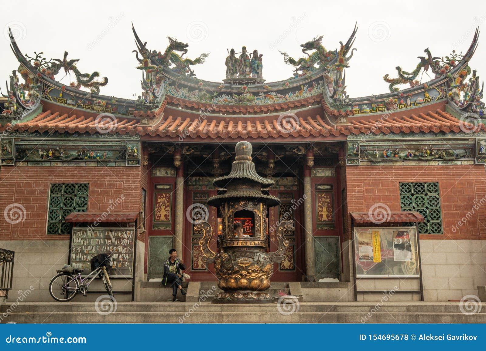 Kaohsiung/Taiwan-15 03 2018: Chińska świątynia w Kaohsiung
