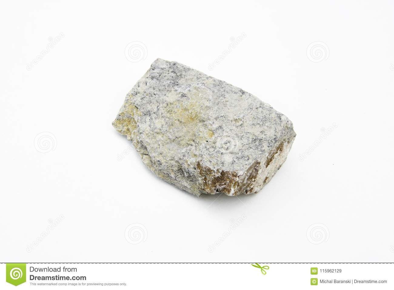 kaolinite mineral isolated over white stock image image of mine