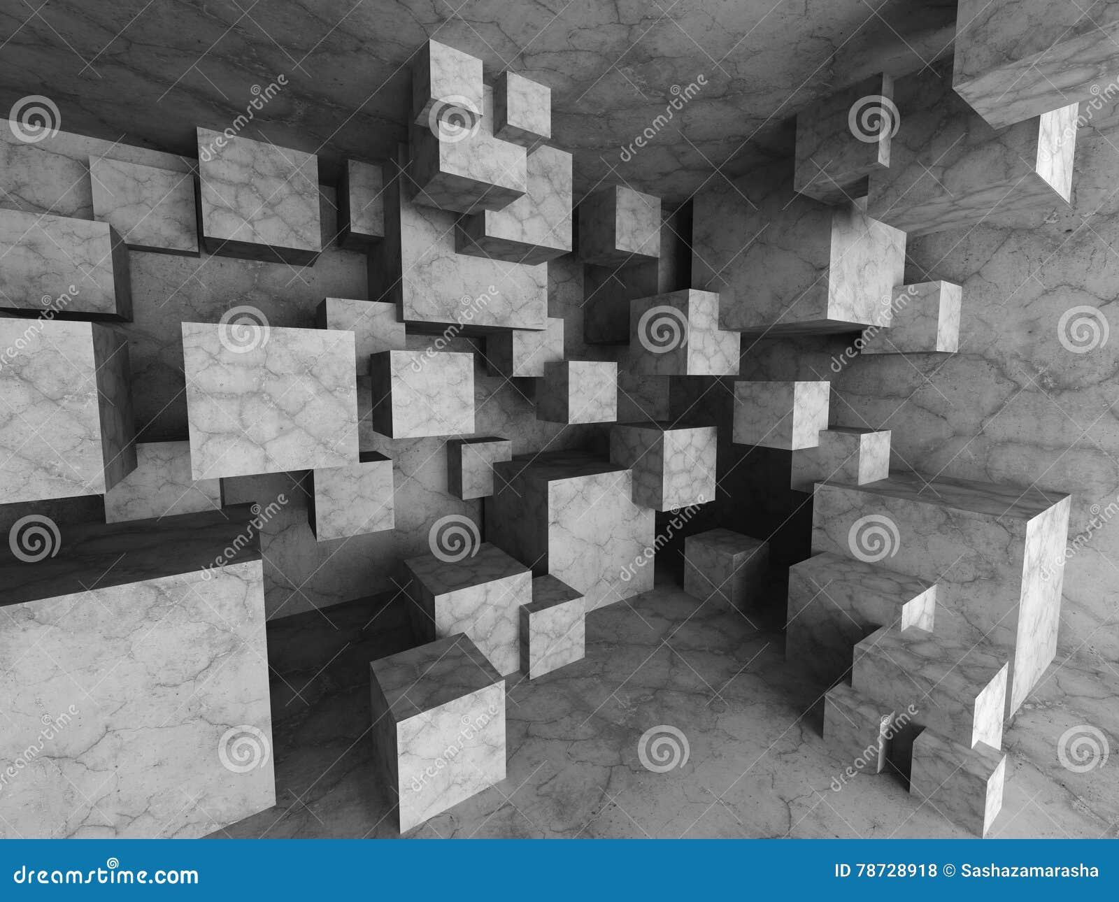 Kaotisk betong skära i tärningar arkitekturbakgrund