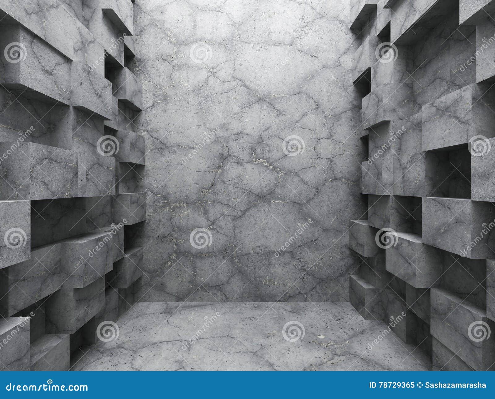 Kaotisk kubkonstruktion Tom inre för mörkerbetongrum