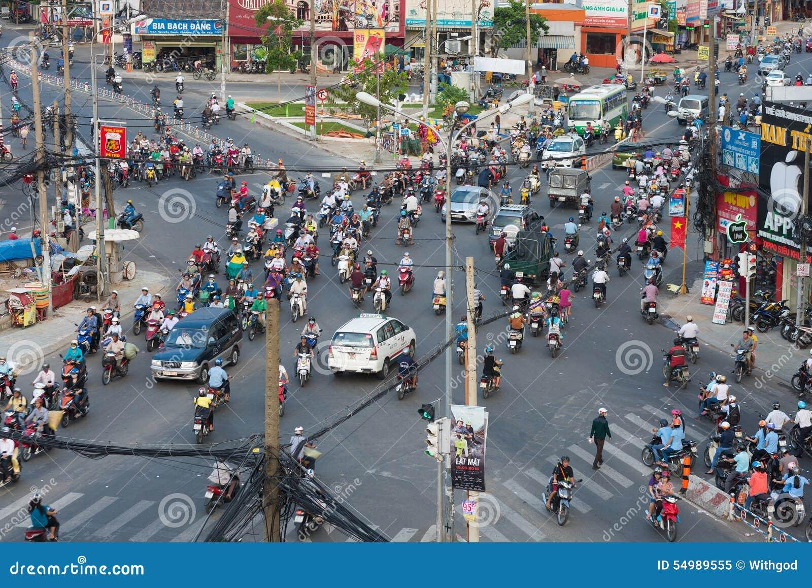 Kaotisk trafik i Saigon