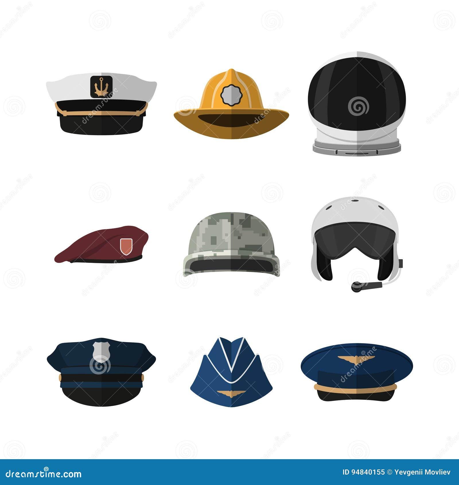 Kapelusze i hełmy Kłobuk żołnierz, lotnik, policjant i kapitan, Ikona nakrętka w mieszkanie stylu