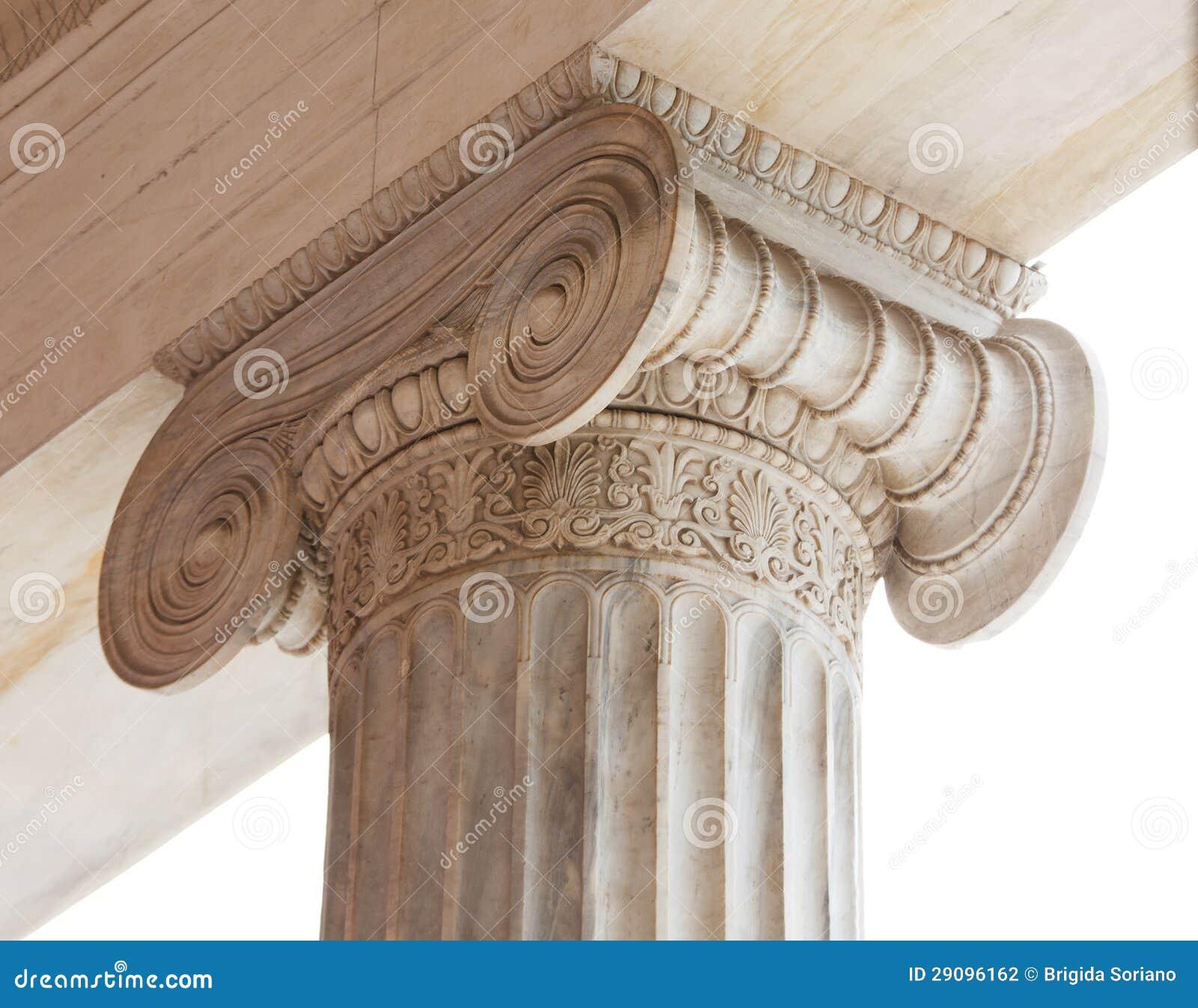 Kapitaal van Griekse neoklassieke Ionische kolom