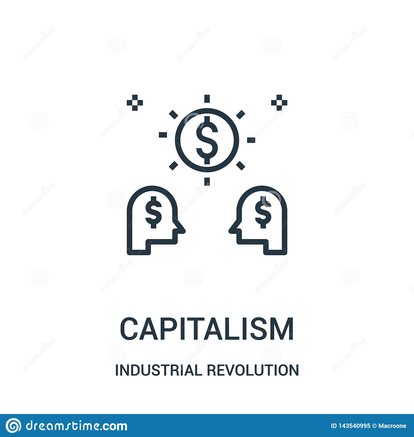 Kapitalismsymbolsvektor från samling för industriell revolution Tunn linje illustration för vektor för kapitalismöversiktssymbol