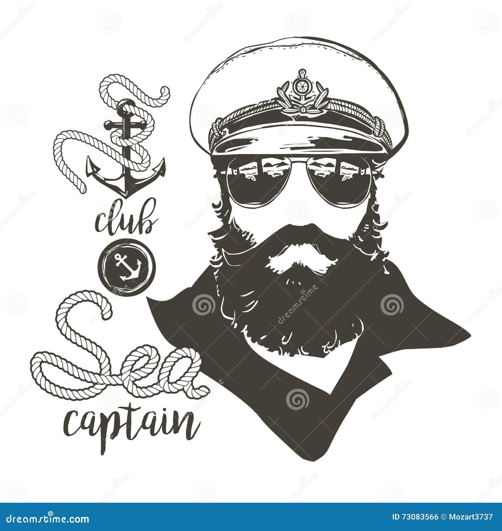 Kapitan broda, nakrętka, okulary przeciwsłoneczni