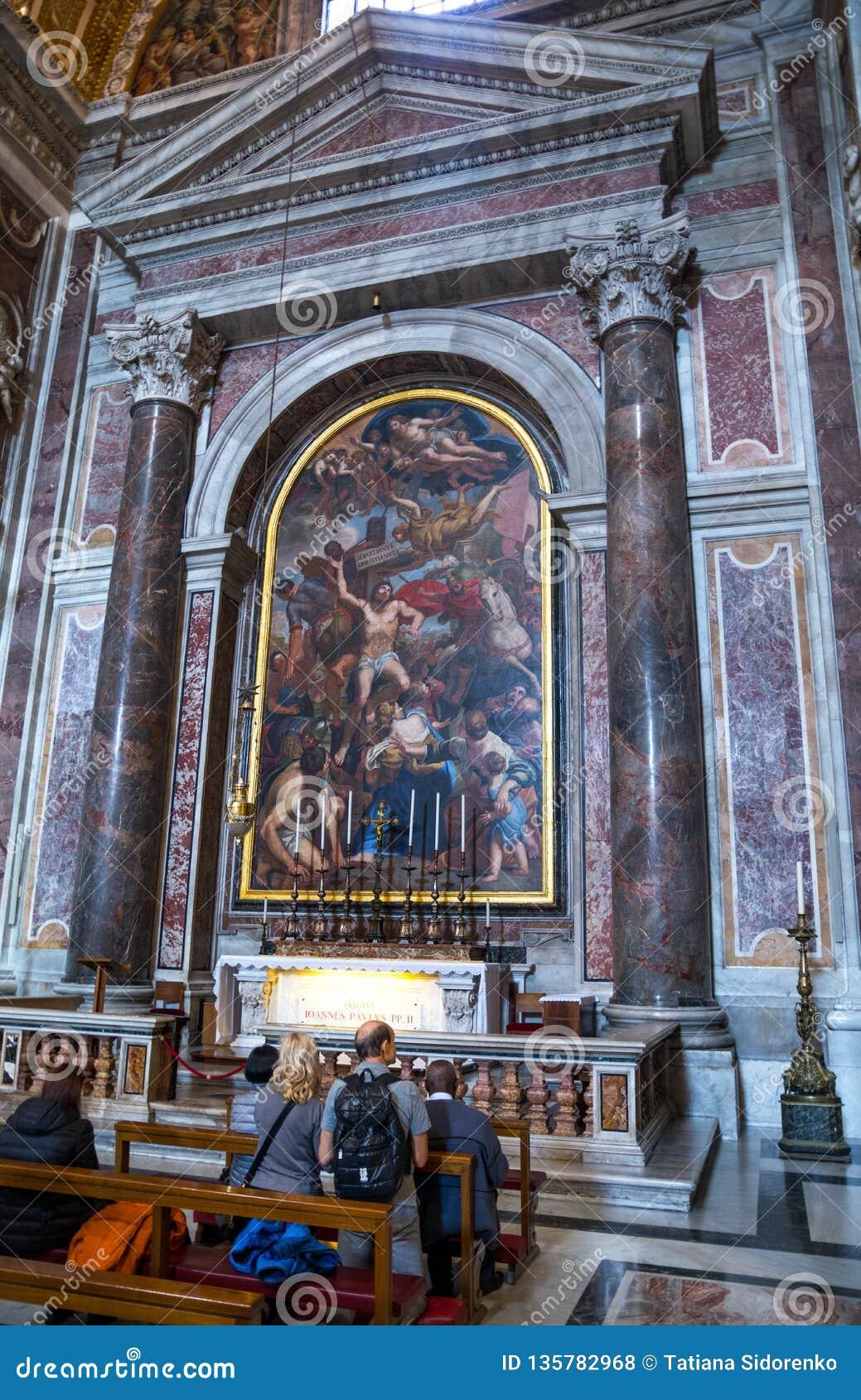 Kaplica w imię świętego męczennika Sebastian Mediolan Wnętrze wśrodku St Peter bazyliki w Watykan Włochy