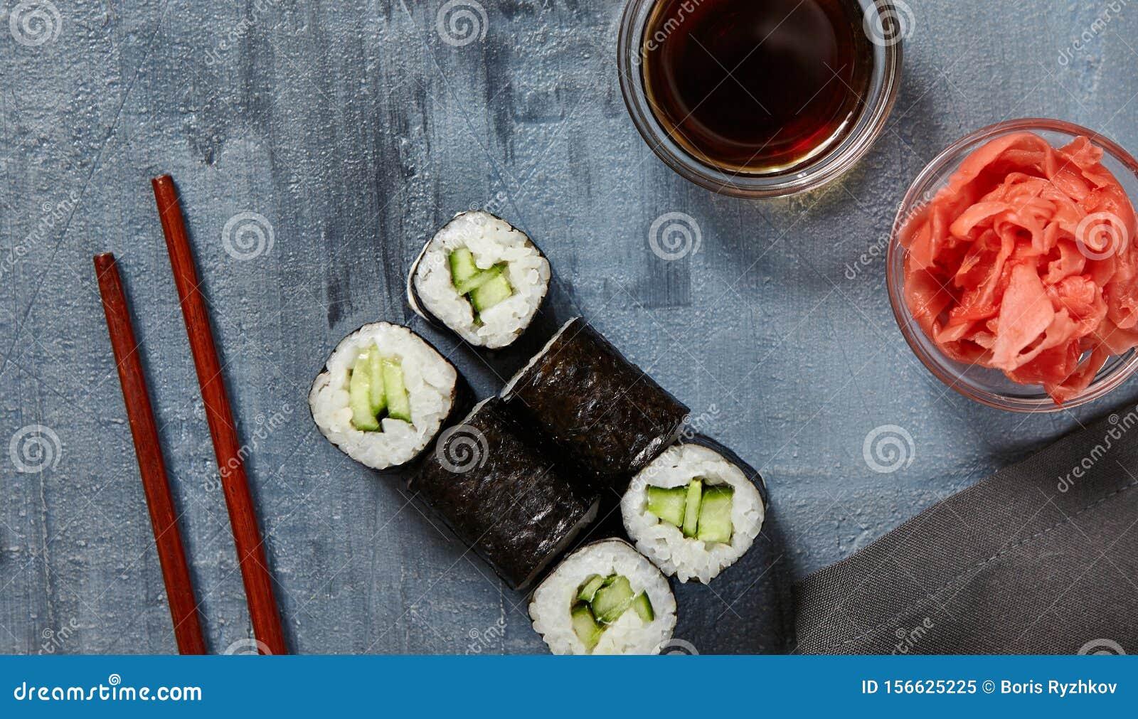 izquierda para mi Mm  Kappa Maki Sushi Roll stock image. Image of meal, japan - 156625225