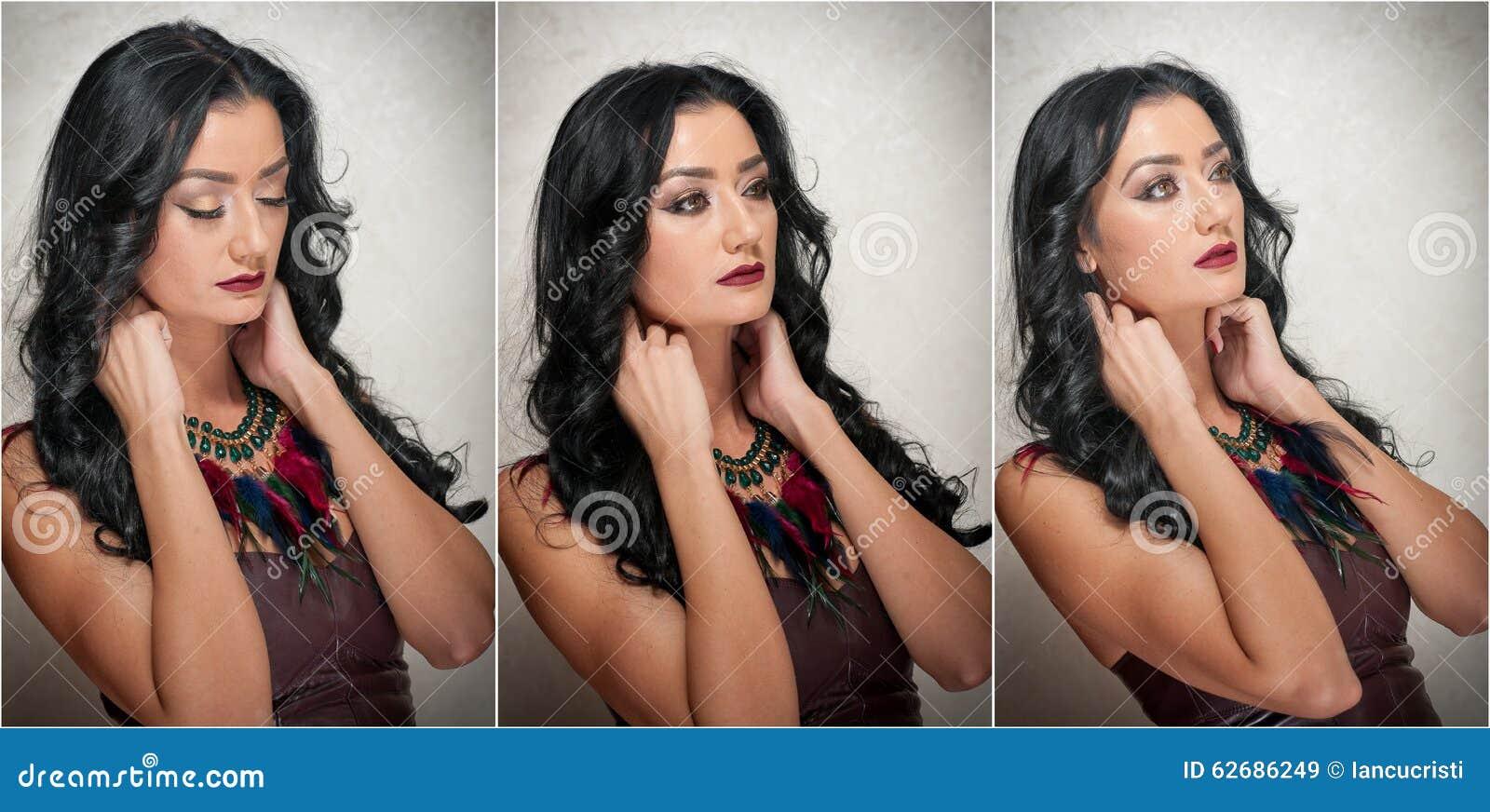 Kapsel en Make-up - schitterend vrouwelijk kunstportret met mooie ogen elegantie Echt Natuurlijk brunette in studio