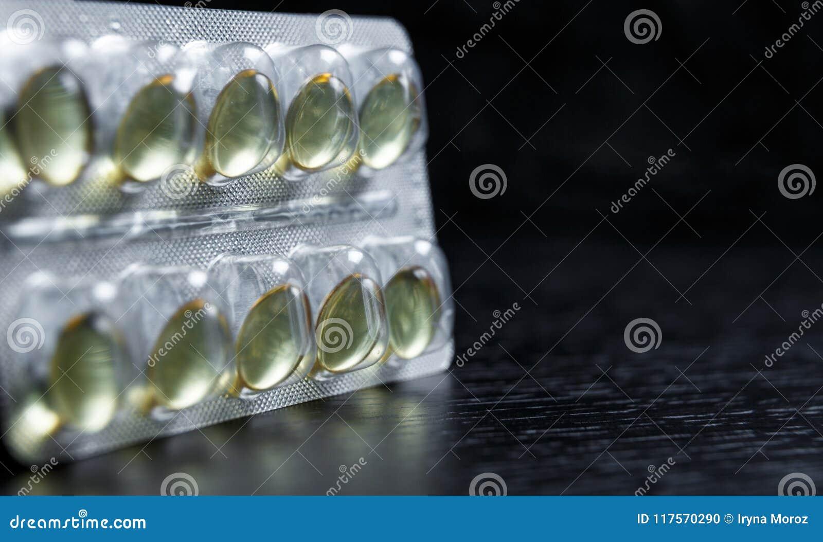 Kapseln des Vitamins D Blisterpackung mit Vitaminen pharmazeutisch