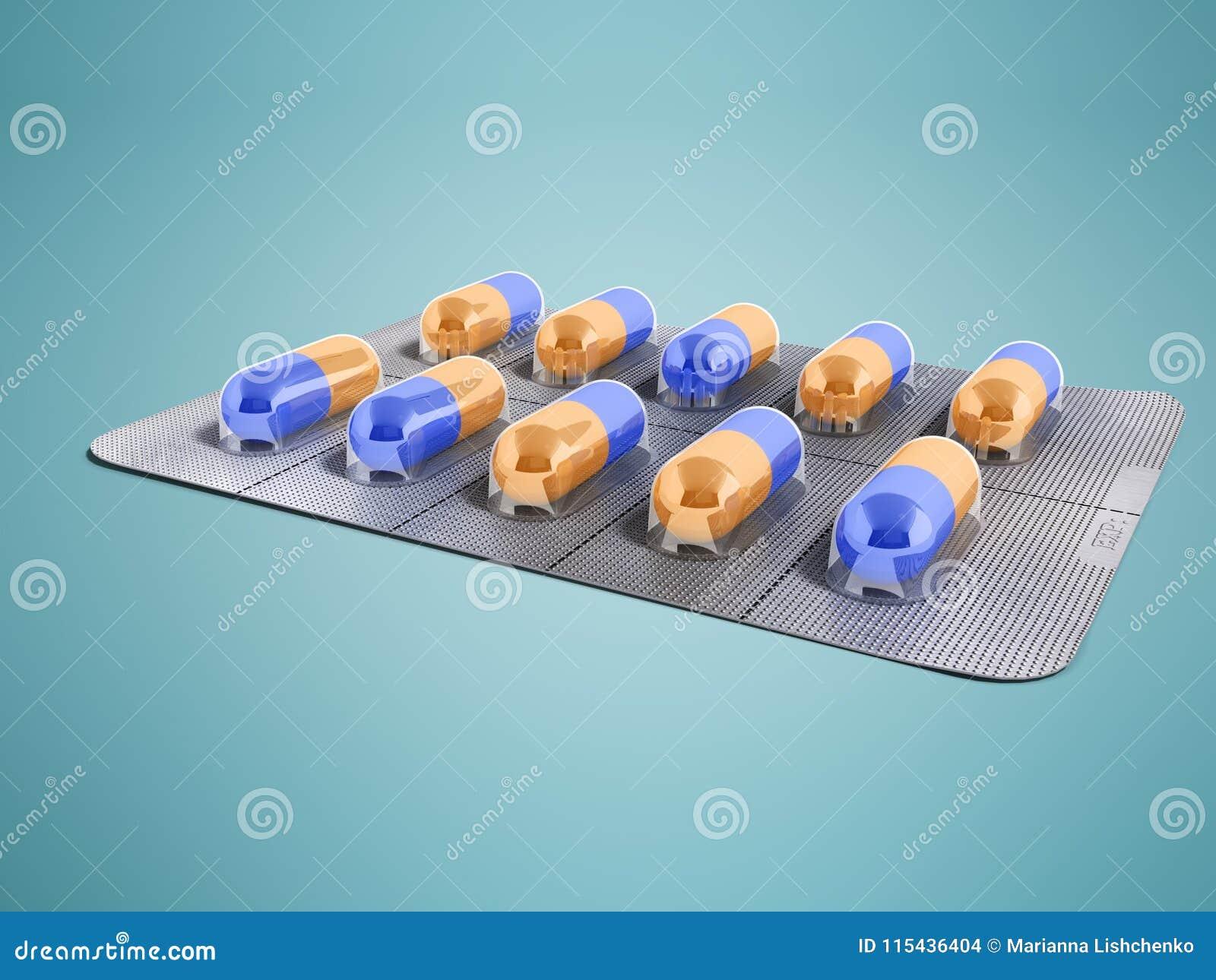 Kapslar i en platta av tio stycken 3d framför på en blå bakgrund