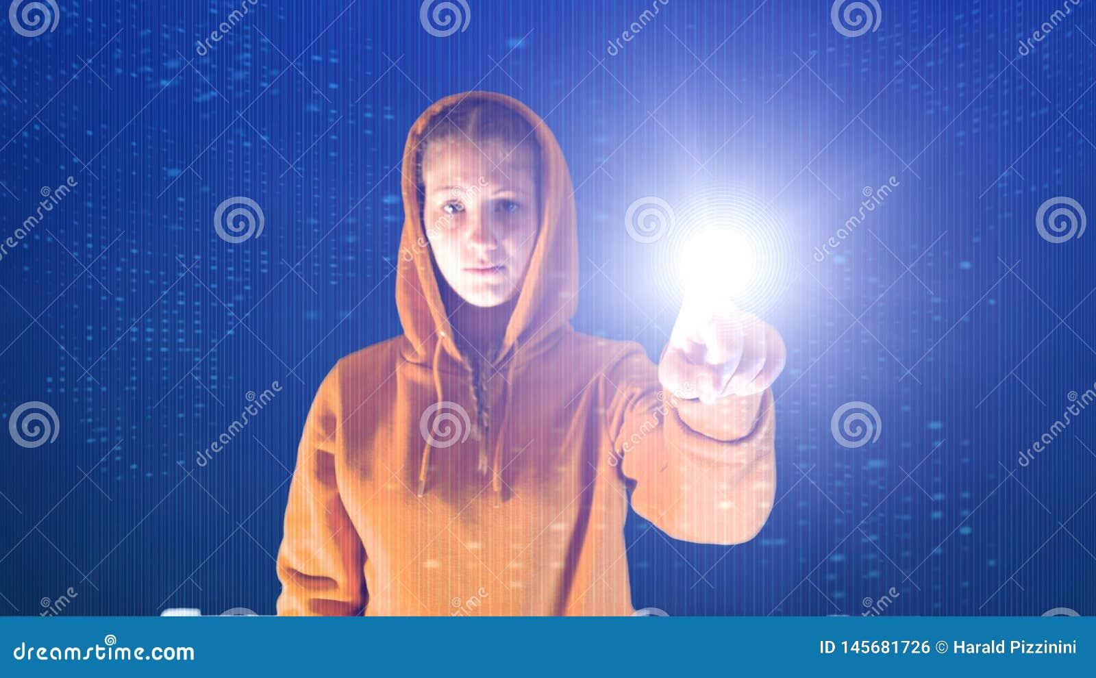 Kapturza?ci dziewczyna punkty z jej r?k? w cyberprzestrzeni cyfrowym ?rodowisku, idea?em dla temat?w tak jak ekologia i onlinym b