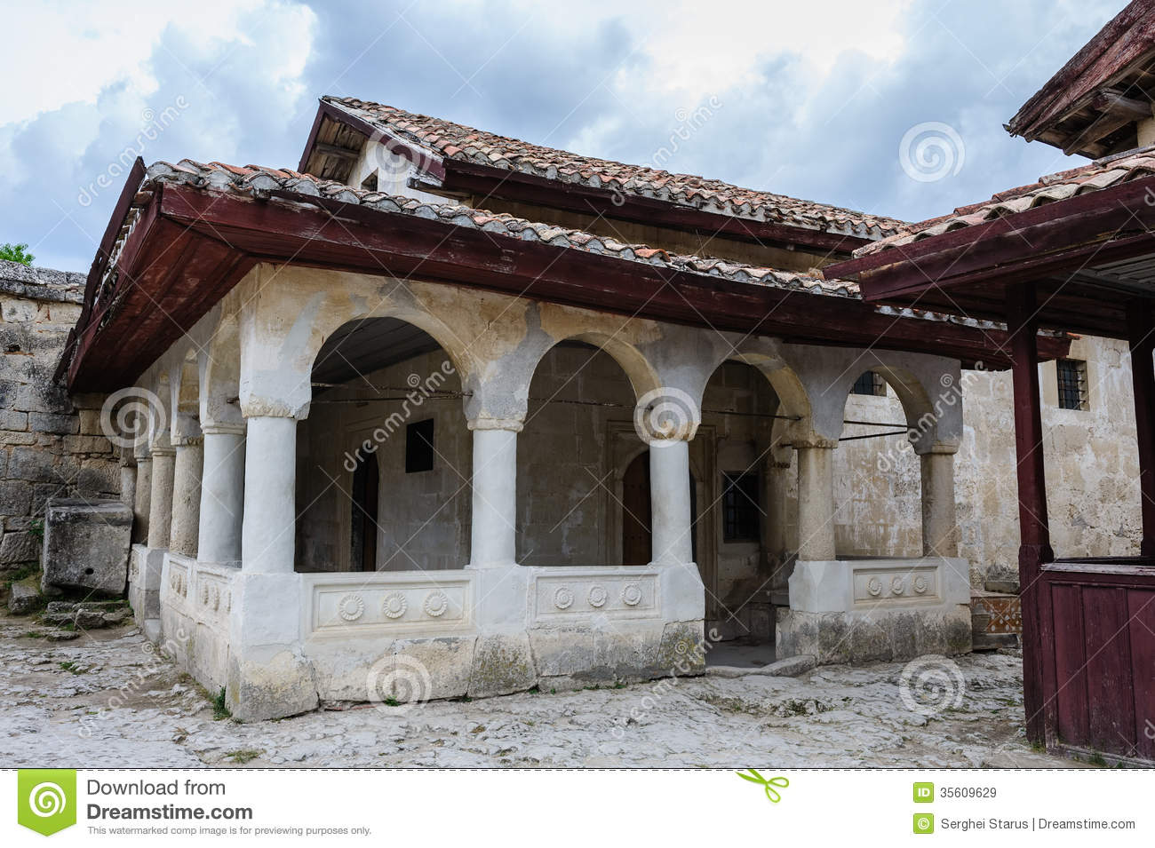 Karaite prayer house in chufut kale crimea stock image for Fortress house