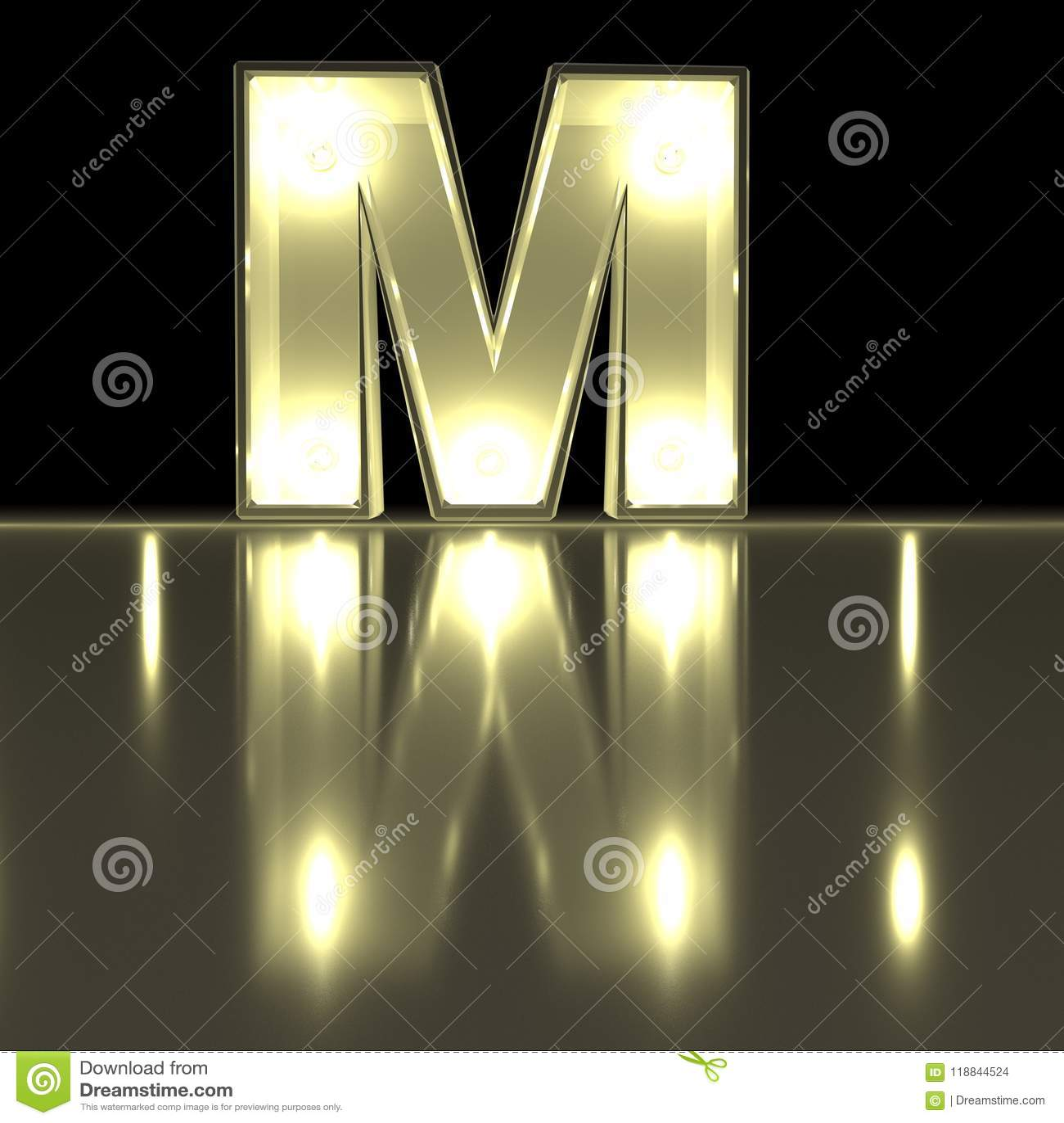 Karakterm doopvont met bezinning Gloeilampen gloeiende brief alph