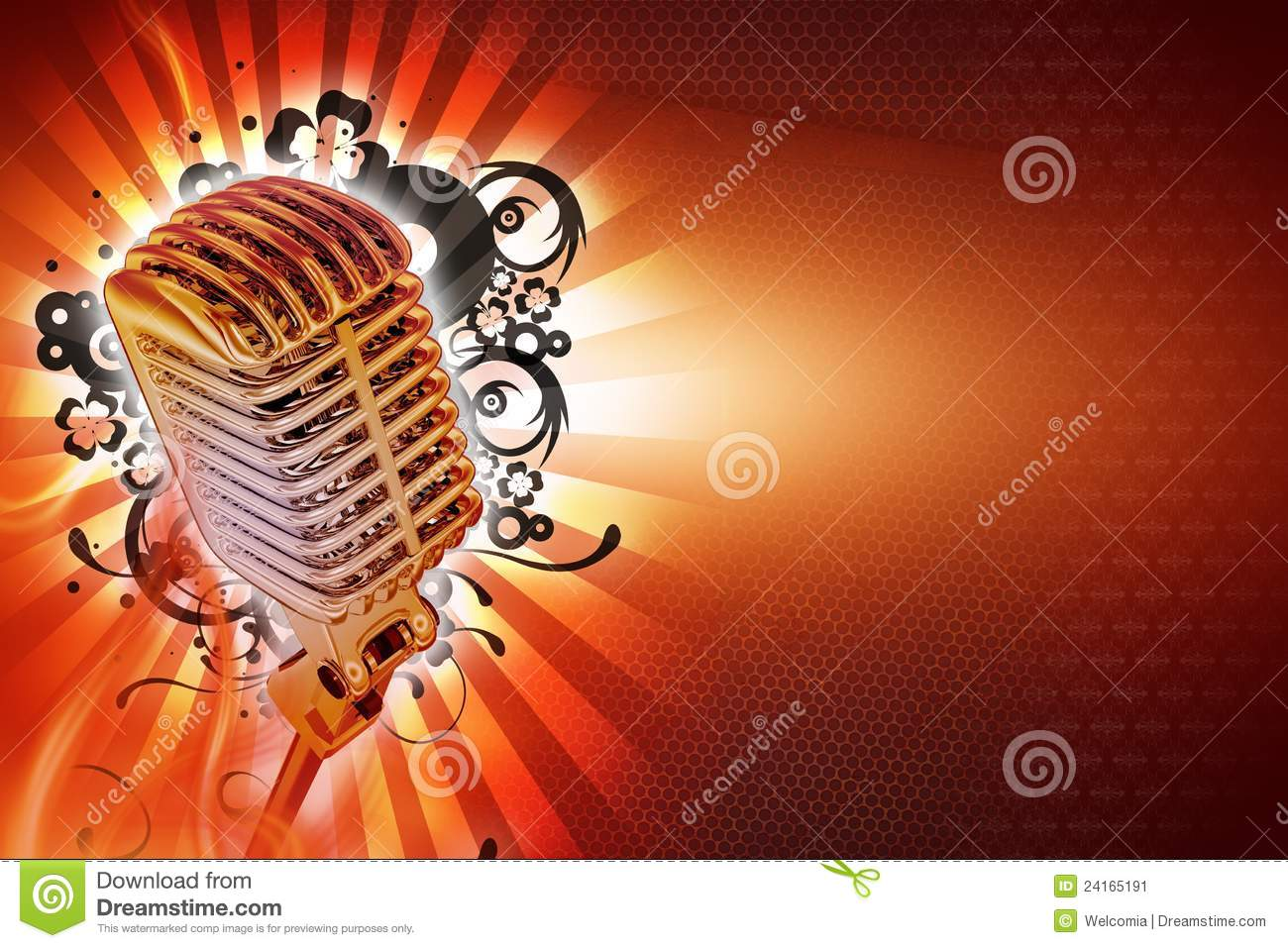 Karaoke Background Design. Cool Retro Style Microphone with Floral ...