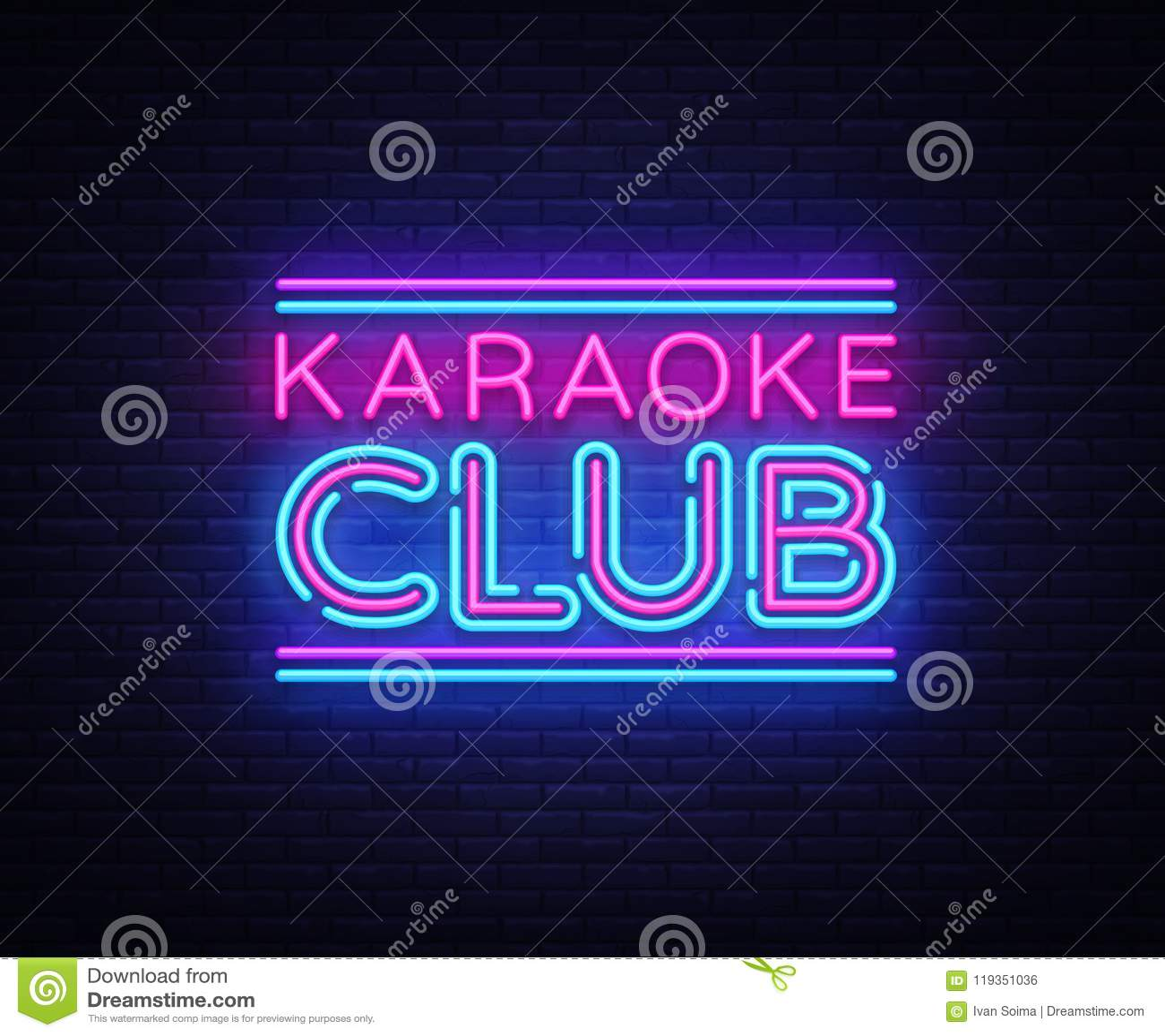 karaoke club neon sign vector karaoke design template neon sign