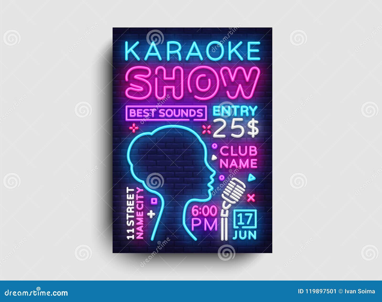 Karaoke Design Poster Vector Karaoke Party Design Template Flyer