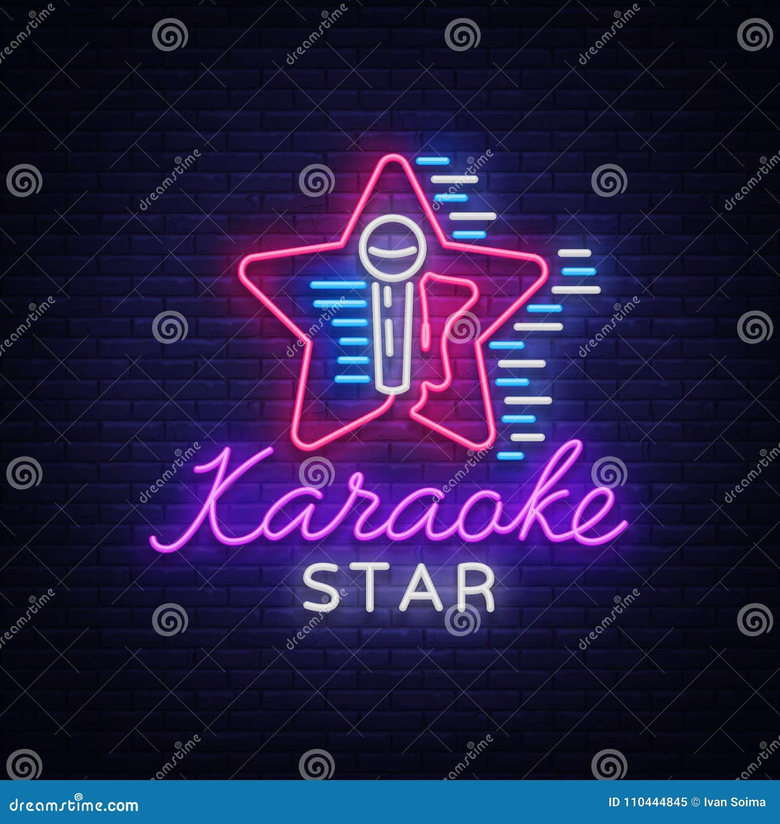 Karaoke Gwiazdowy wektor Neonowy znak, świecący logo, symbol, lekki sztandar Reklamowy jaskrawy nocy karaoke bar, przyjęcie, dysk