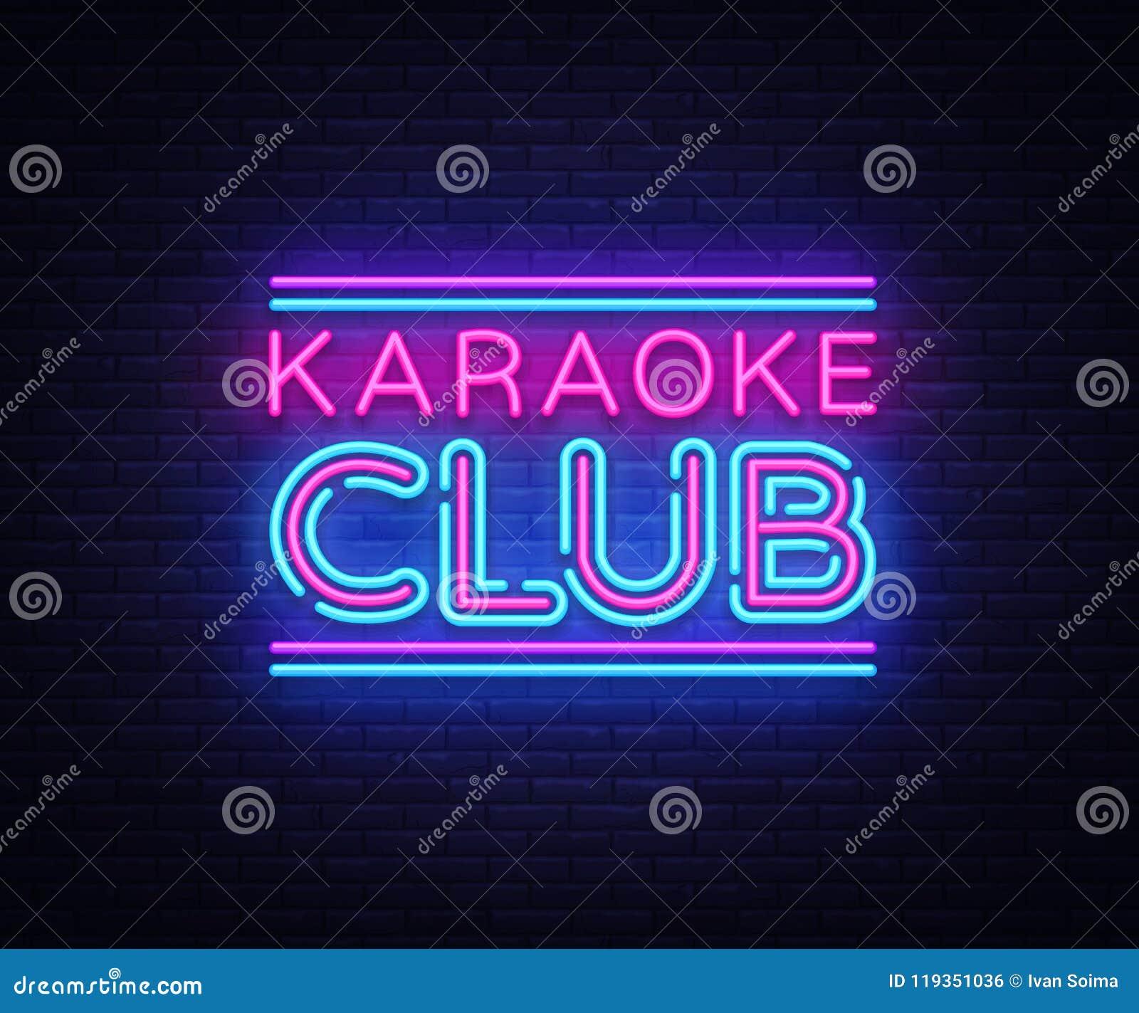 Karaoke neonowego znaka Świetlicowy wektor Karaoke projekta szablonu neonowy znak, lekki sztandar, neonowy signboard, śródnocny j