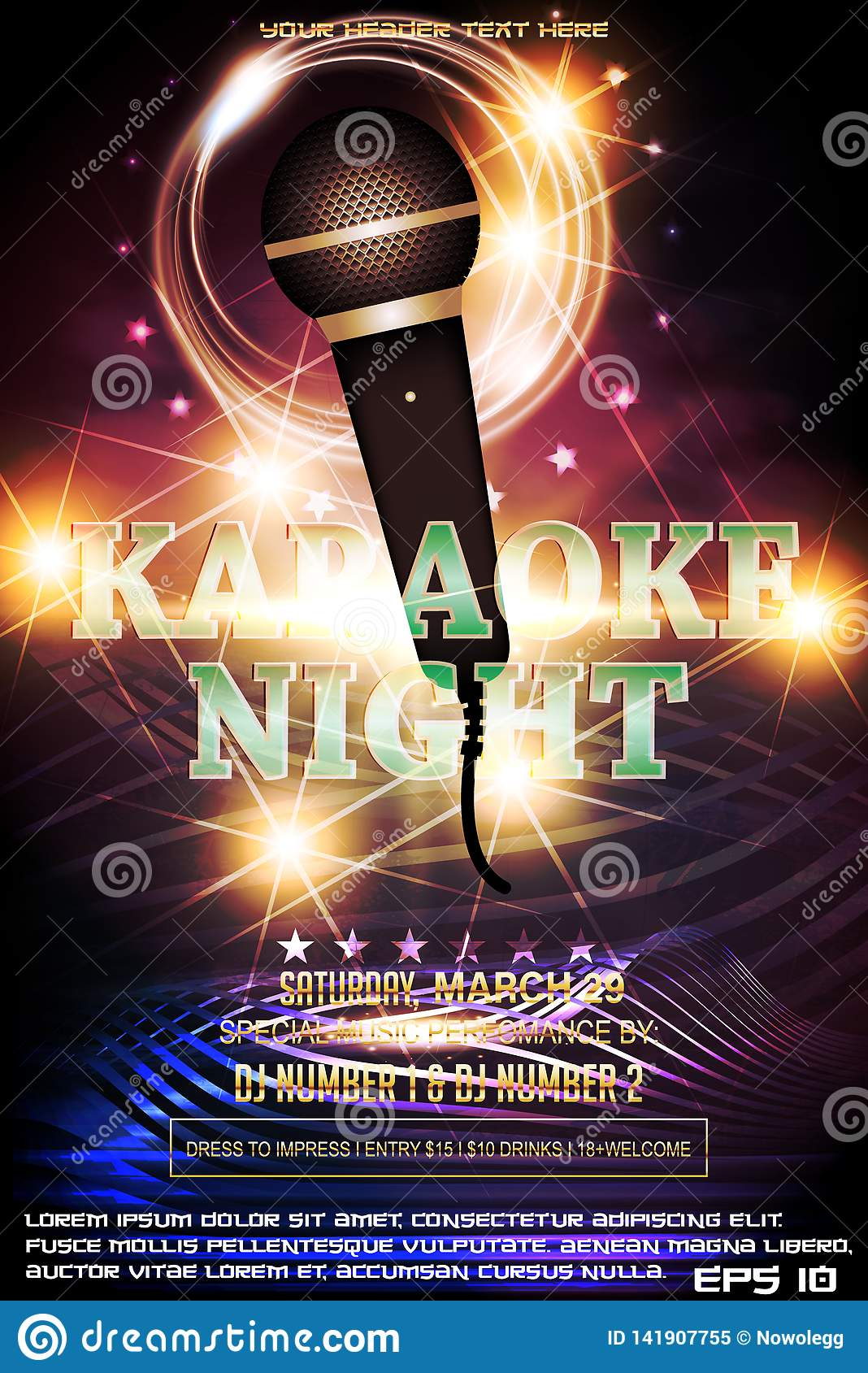 Karaoke Night Party Invitation Poster Design Template Stock Vector