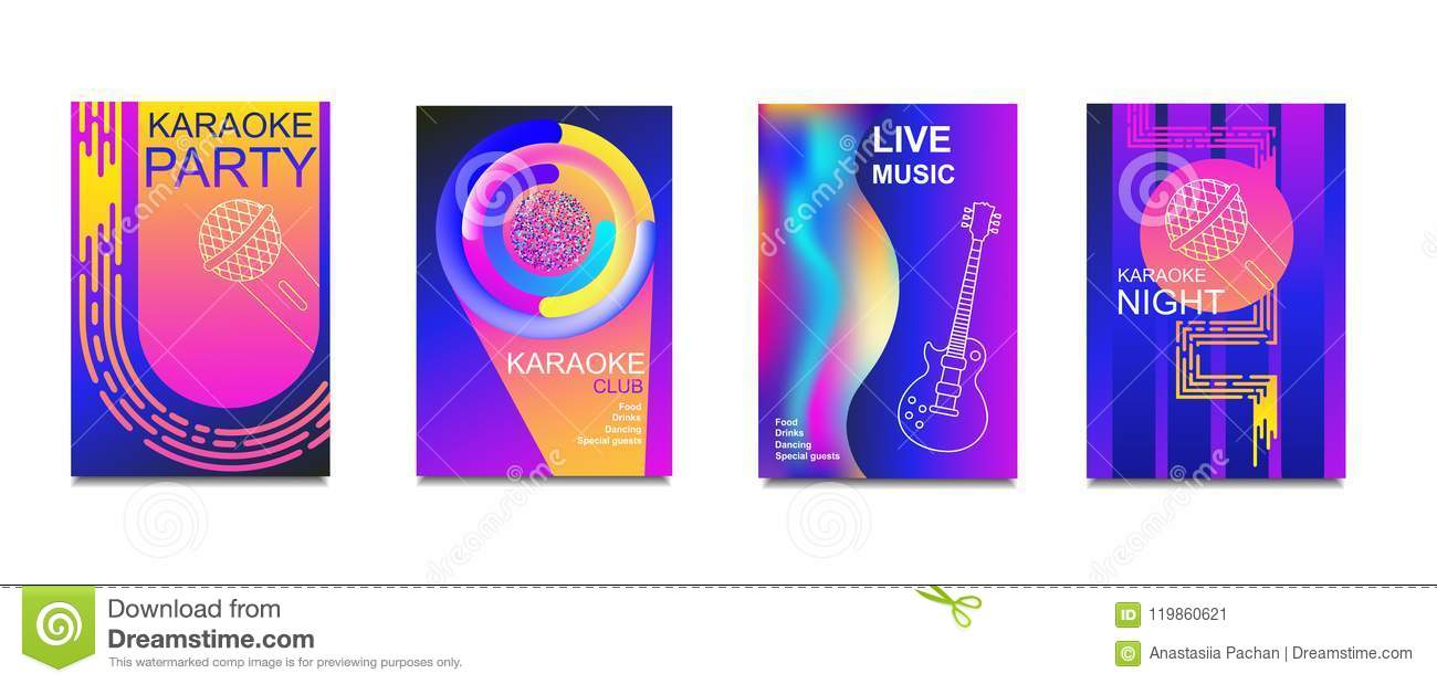 Karaoke Party Invitation Flyer Template Concept For A Night Club