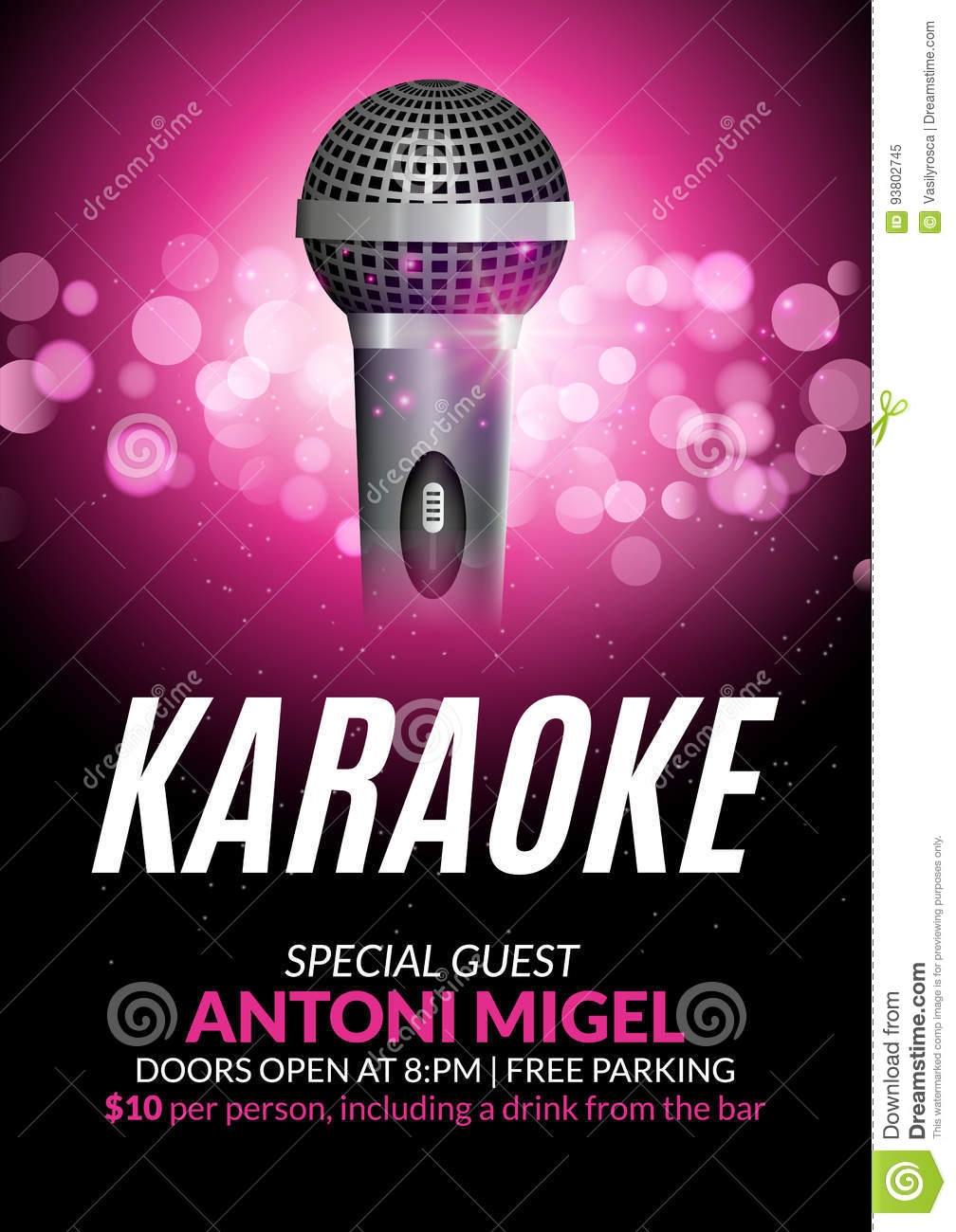 Download Karaoke Party Invitation Poster Design Template. Karaoke Night  Flyer Design. Music Voice Concert