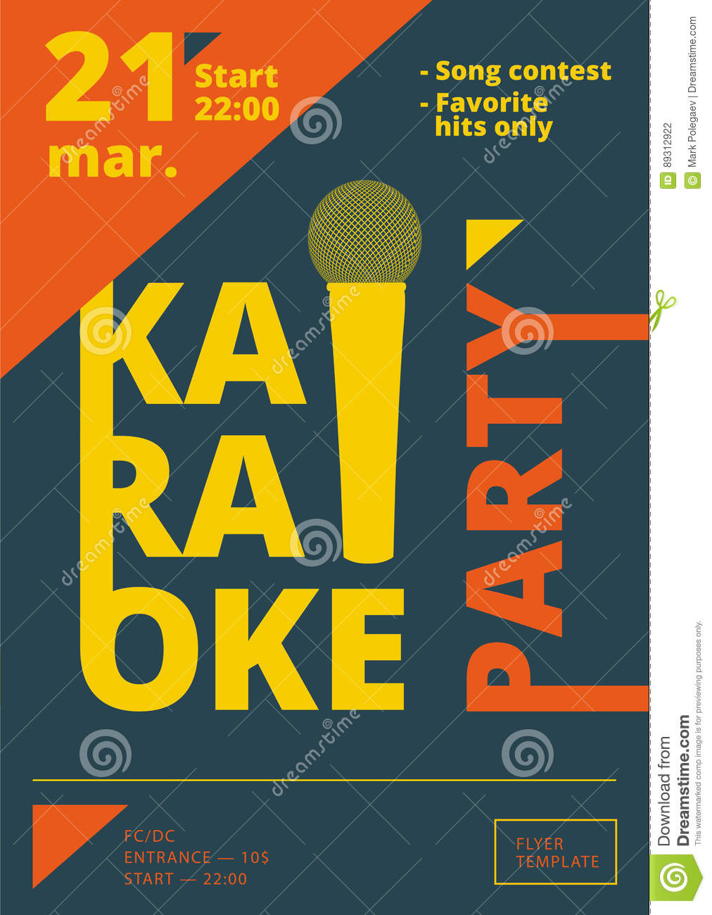 karaoke party poster or flyer template in a4 size song contest pre
