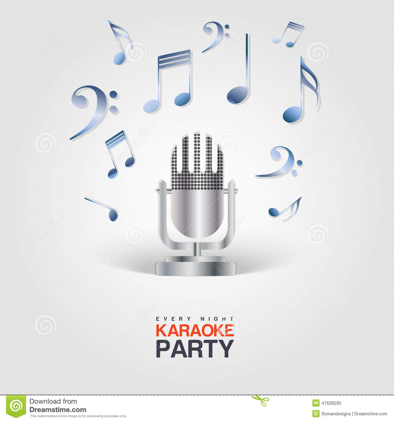 Karaoke party poster with microphone and musical notes stock vector download comp stopboris Choice Image