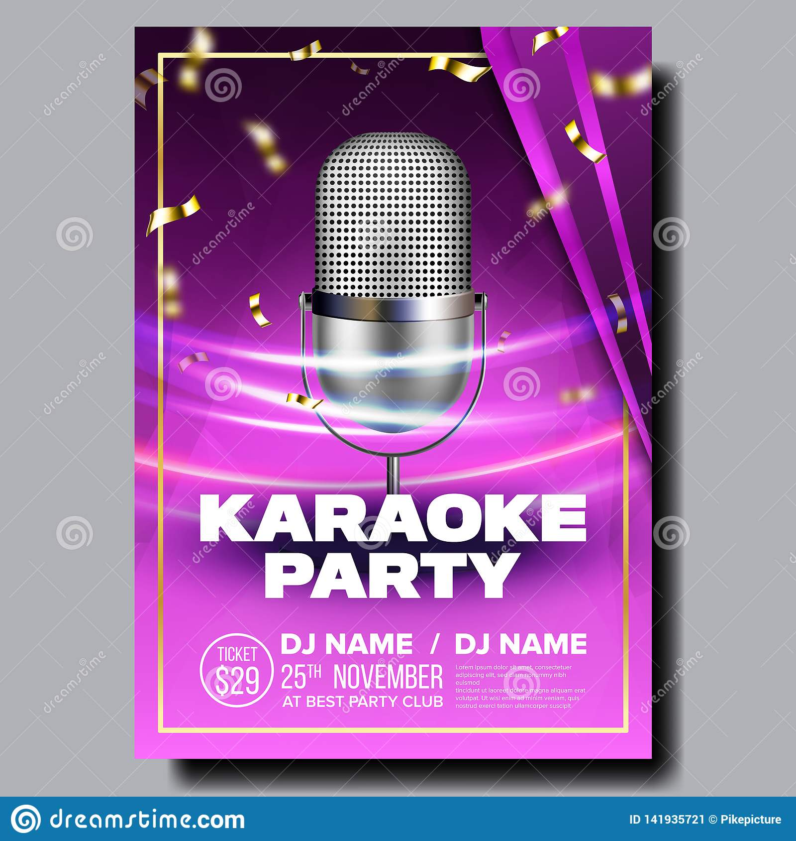 Karaoke Poster Vector  Sing Song  Karaoke Dance Event