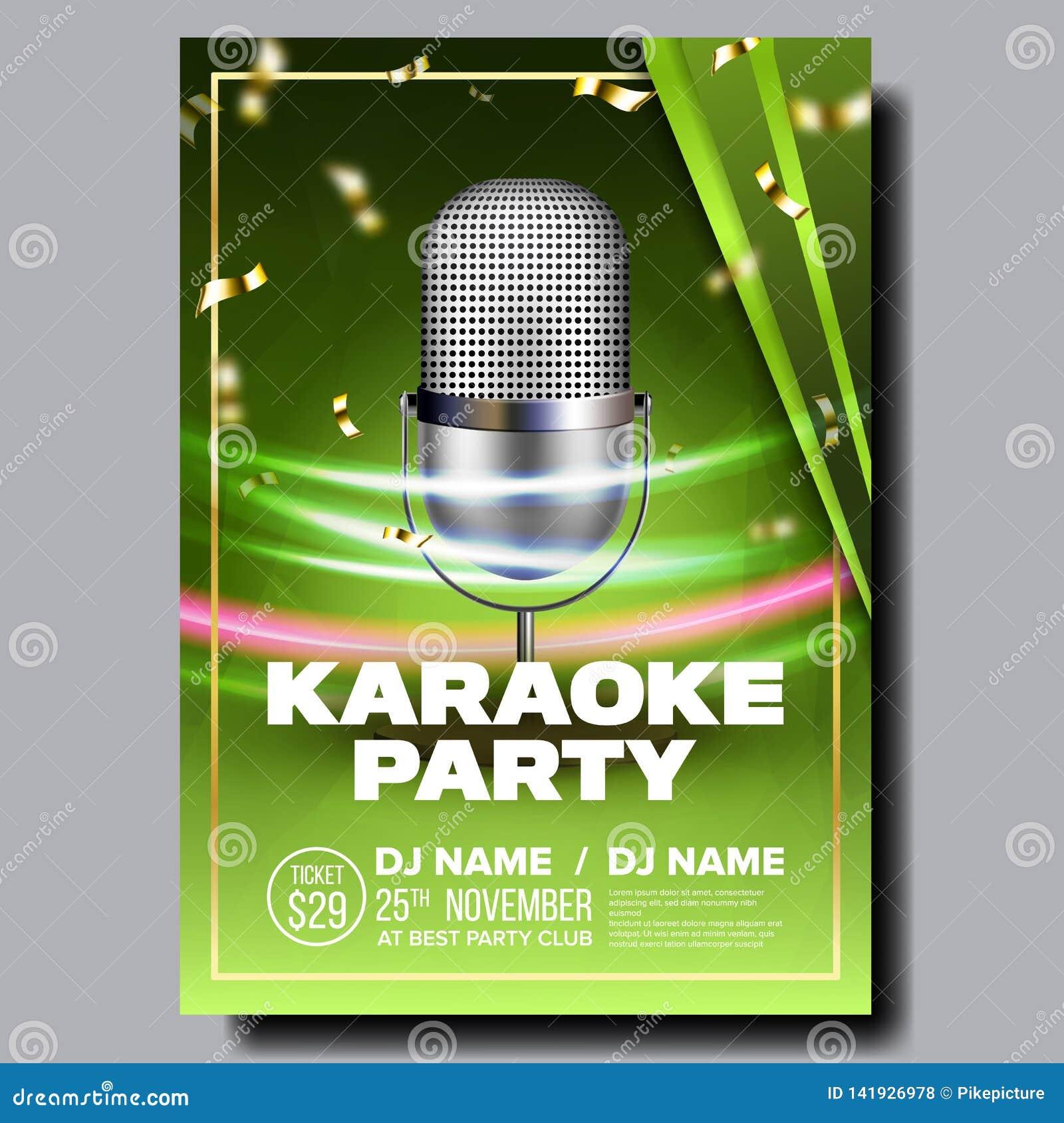 Karaoke Poster Vector  Vintage Karaoke Studio  Musical Record