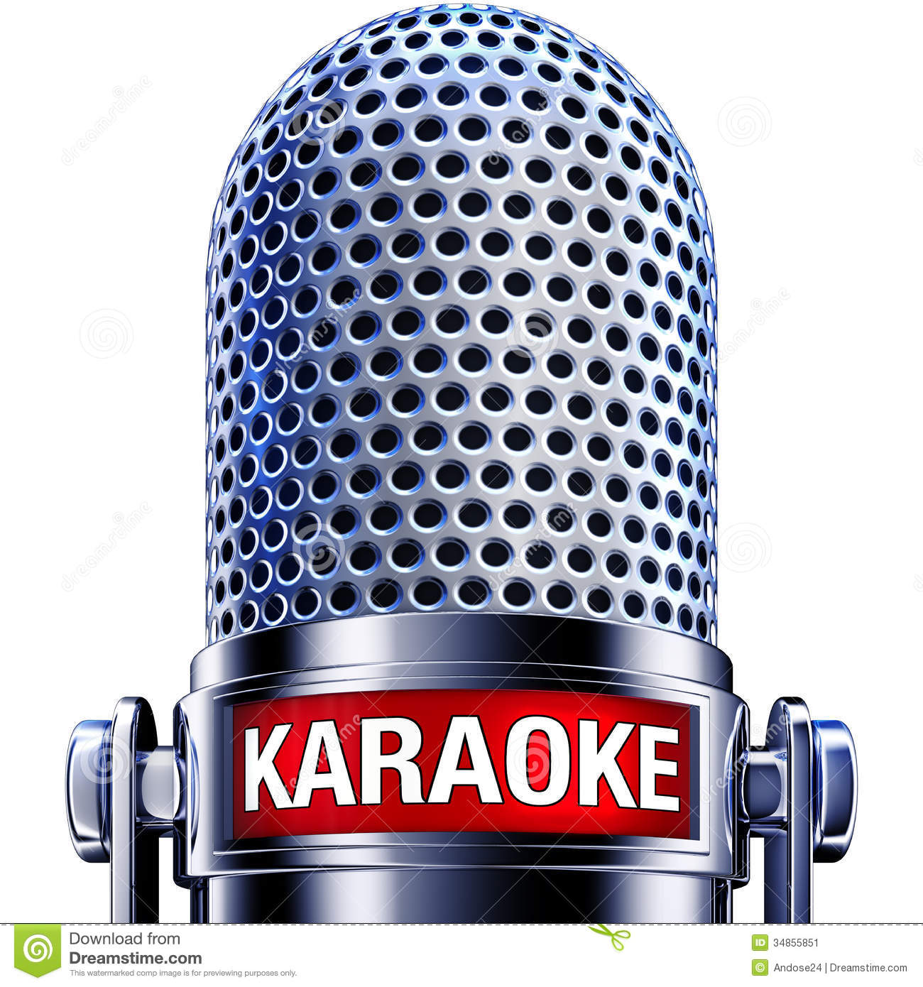Rendering of a microphone with a karaoke icon.