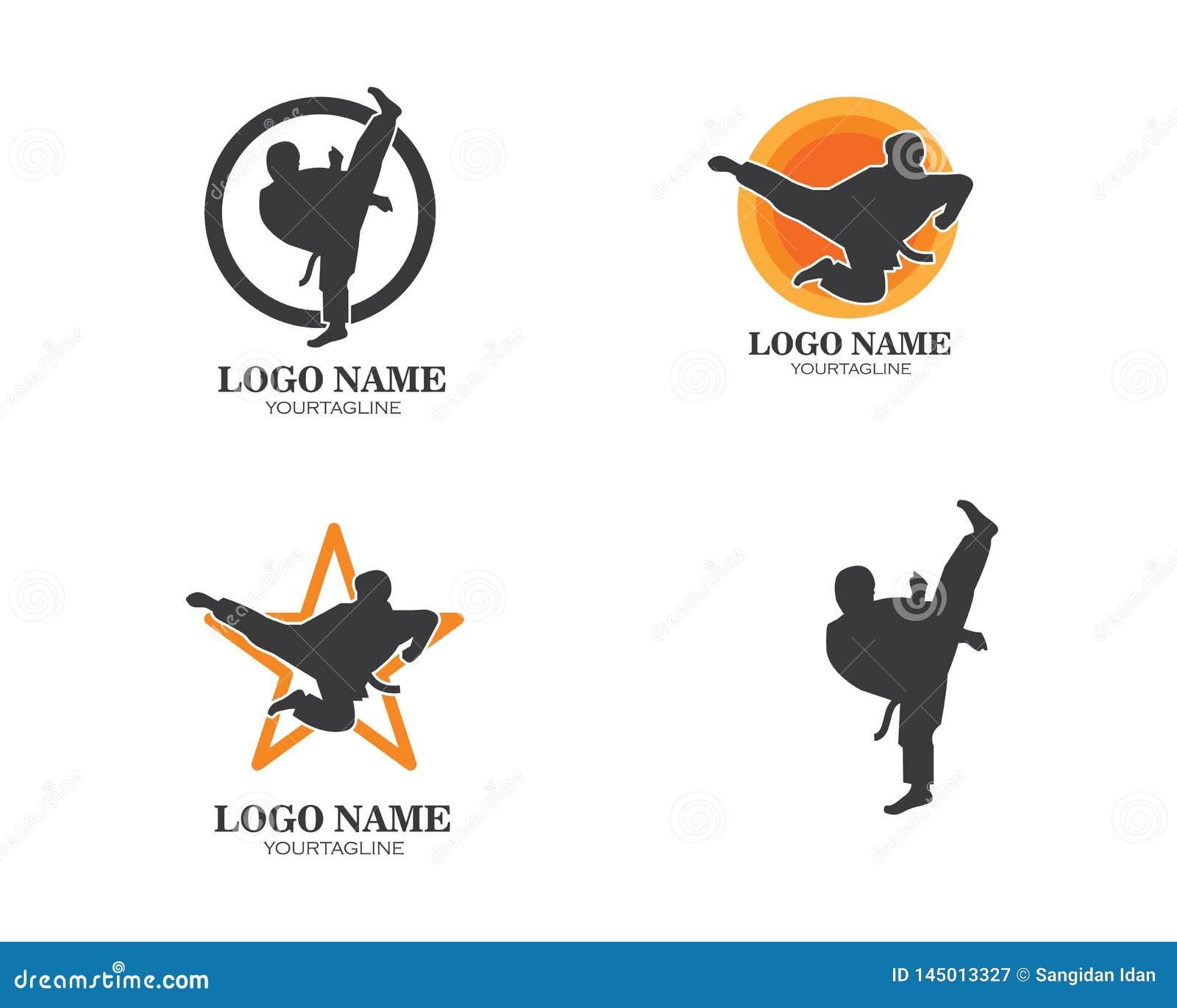 Karaté, calibre d illustration de vecteur de logo de coup-de-pied du Taekwondo