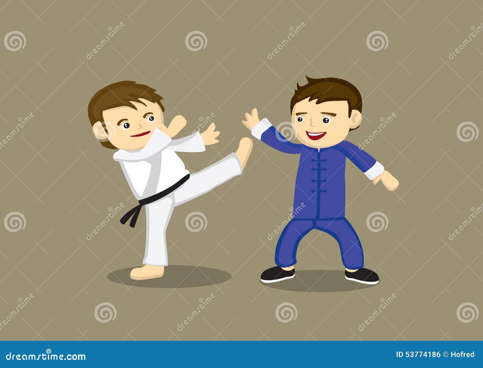 Karat japonais contre le chinois kung fu vector for Les arts martiaux chinois