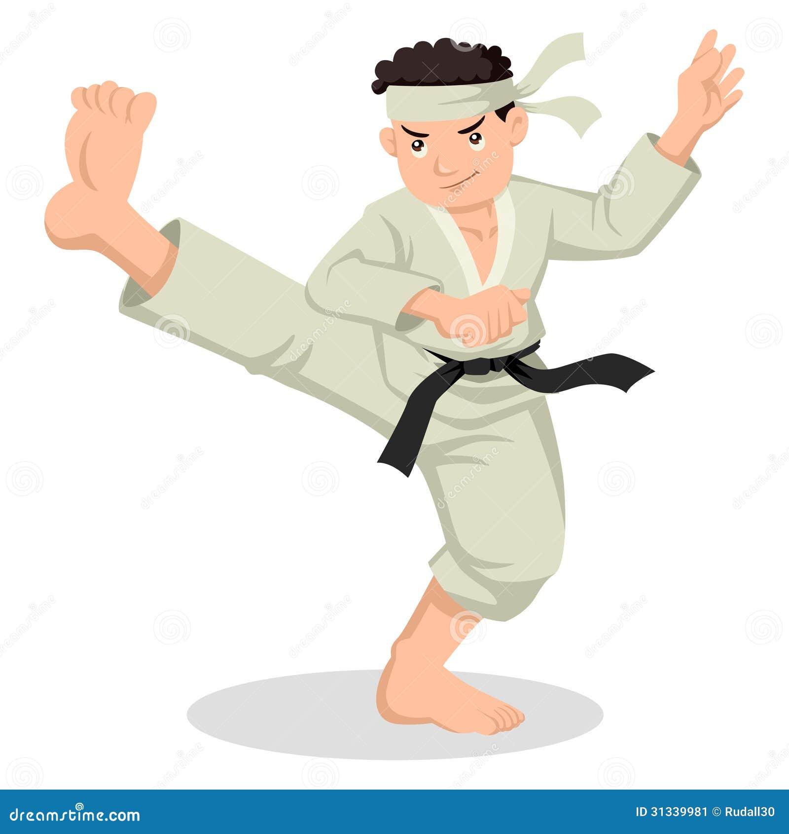 Cartoon illustration of boy kicking in martial art suit Black Karate Cartoon