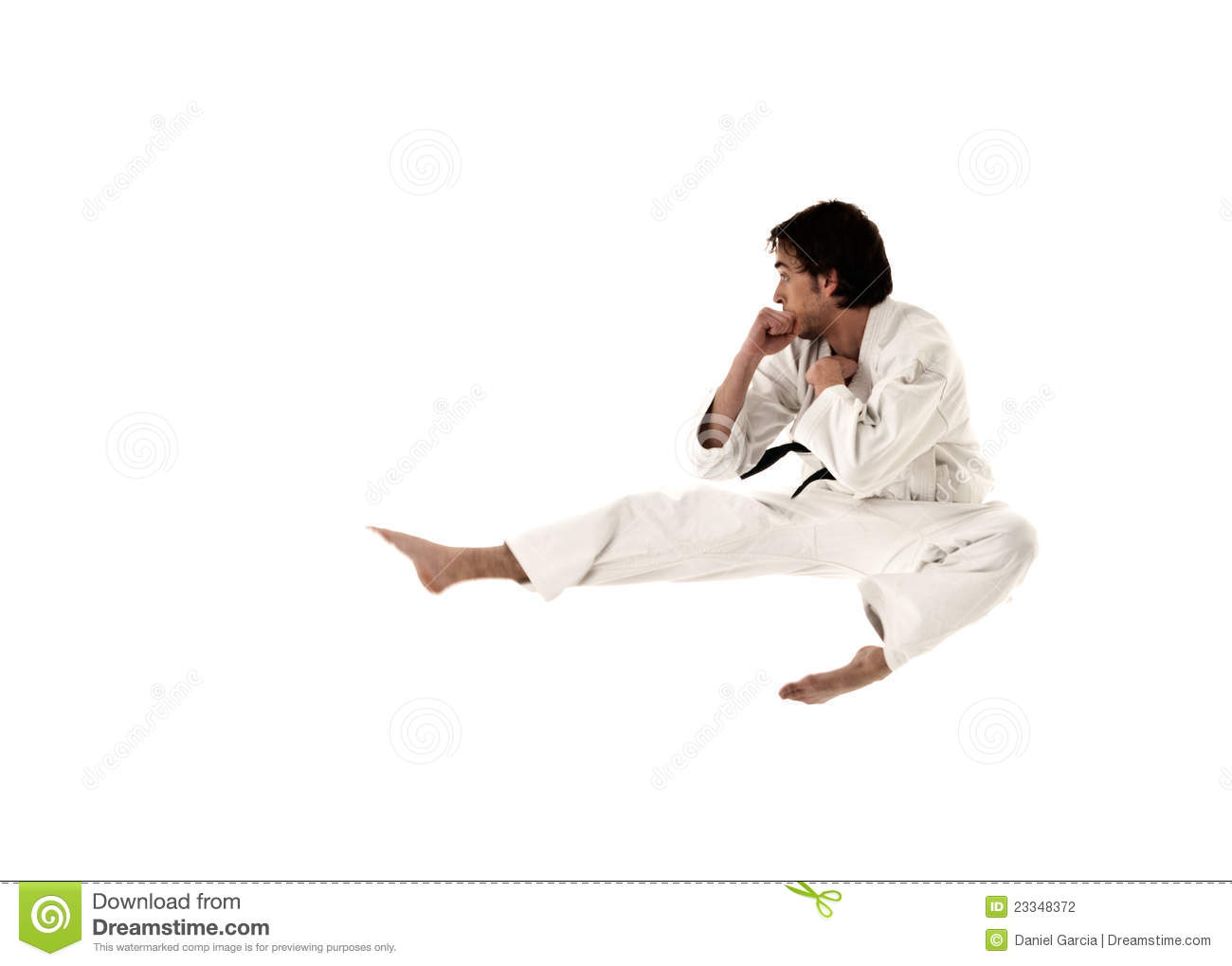Karate flying kick young male fighter isolated on white background Flying Karate Kick