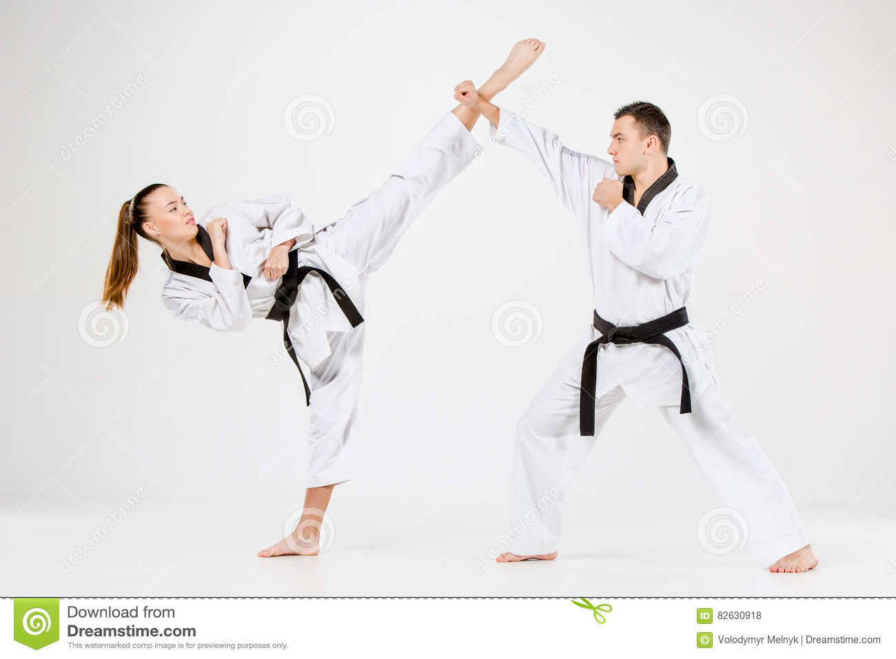 The Karate Girl And Boy With Black Belts Stock Photo - Image of male