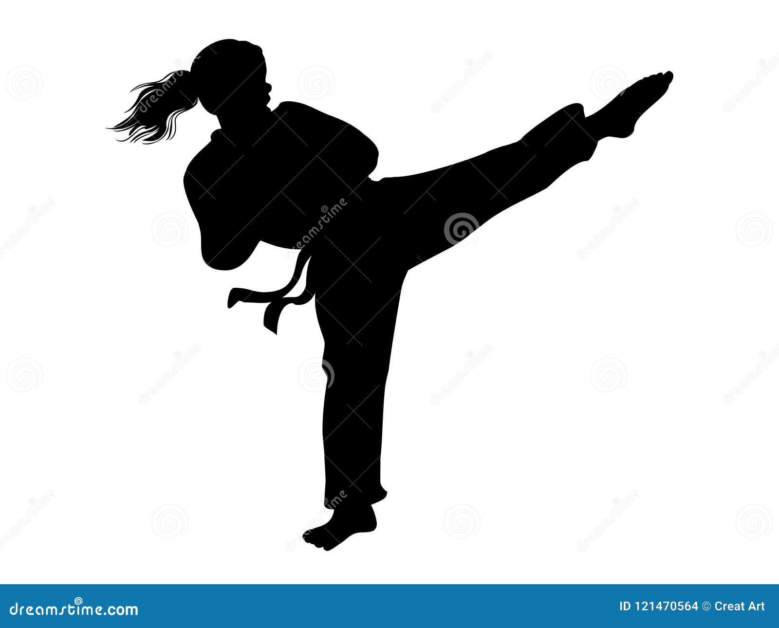 Karate girl vector.Fighter girl silhouette.