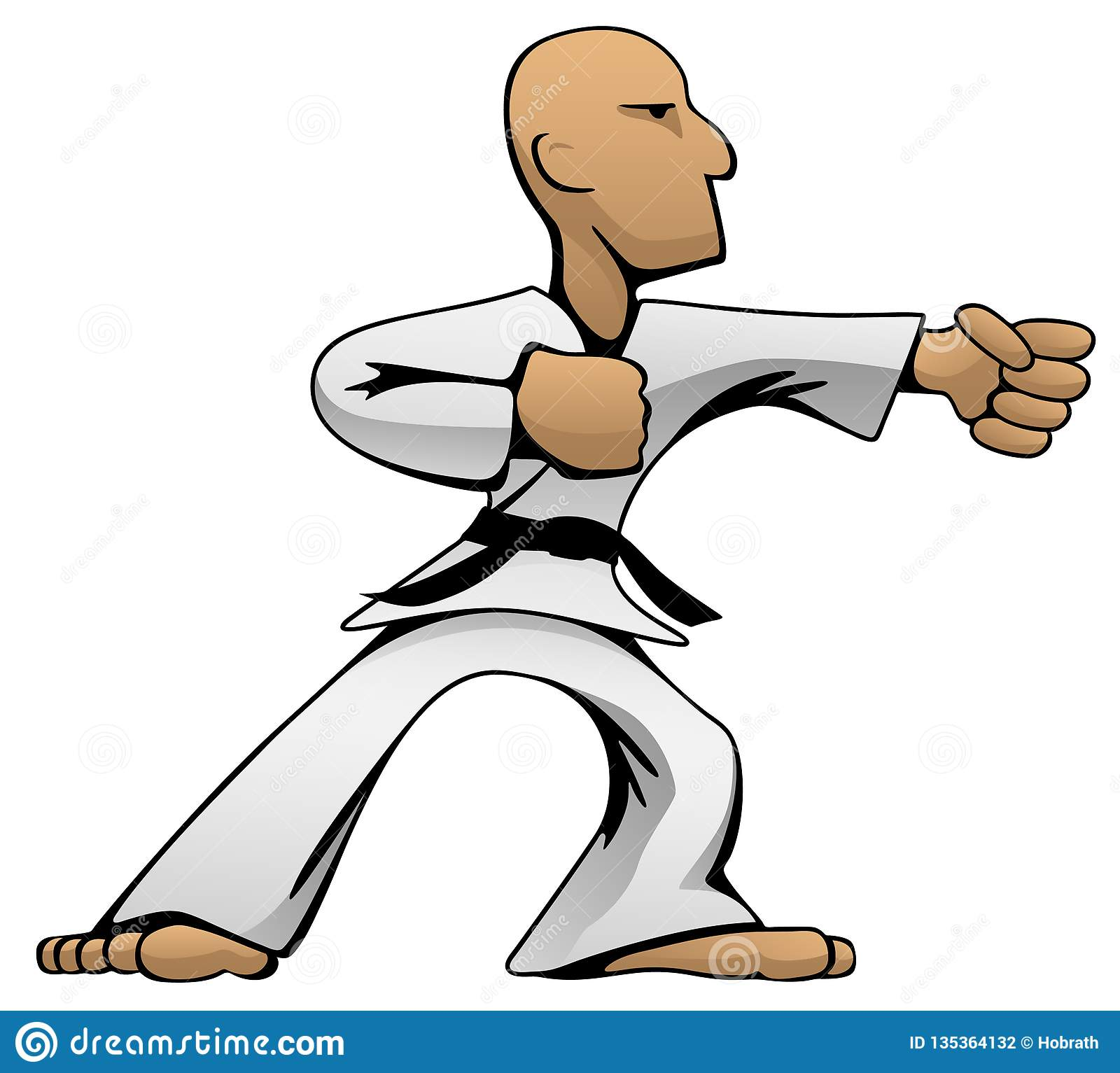 Karate Guy Cartoon Vector Color Illustration de los artes marciales