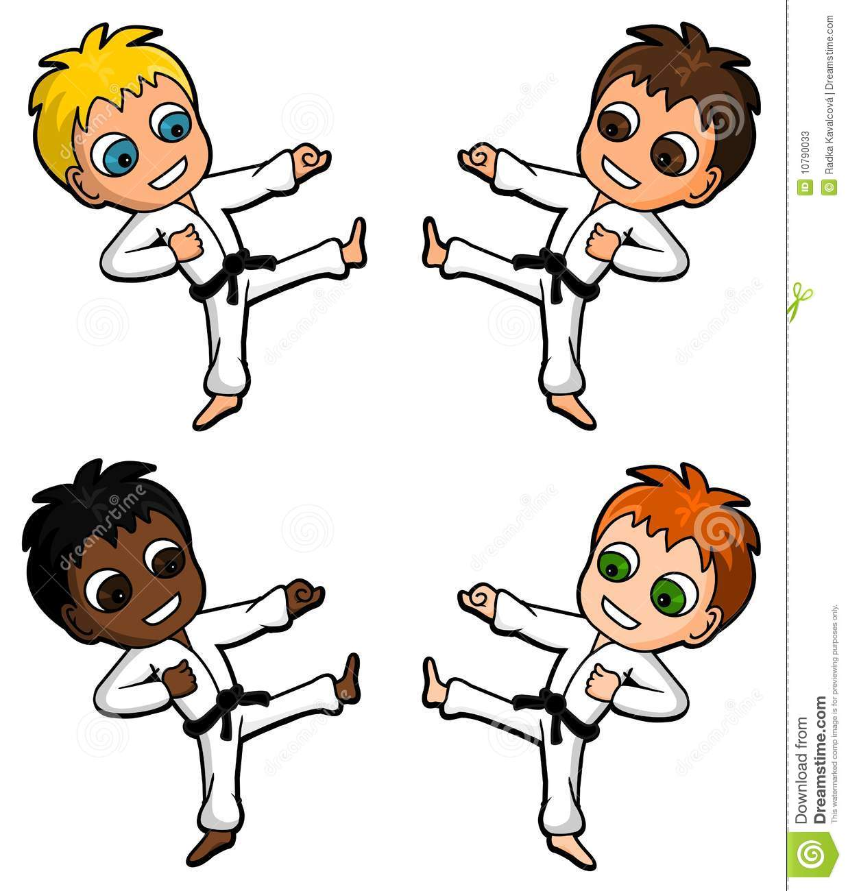 Collection of karate characters of children.