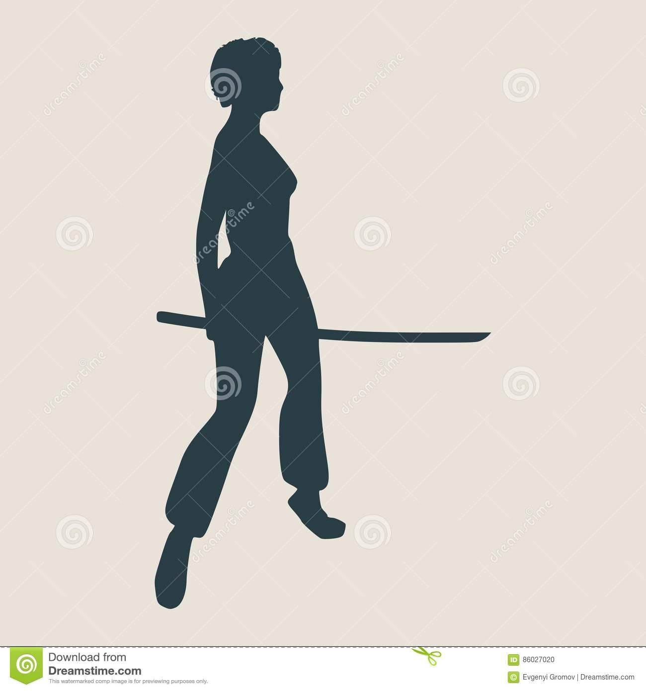 Karate Martial Art Silhouette Of Woman With Sword Stock Vector