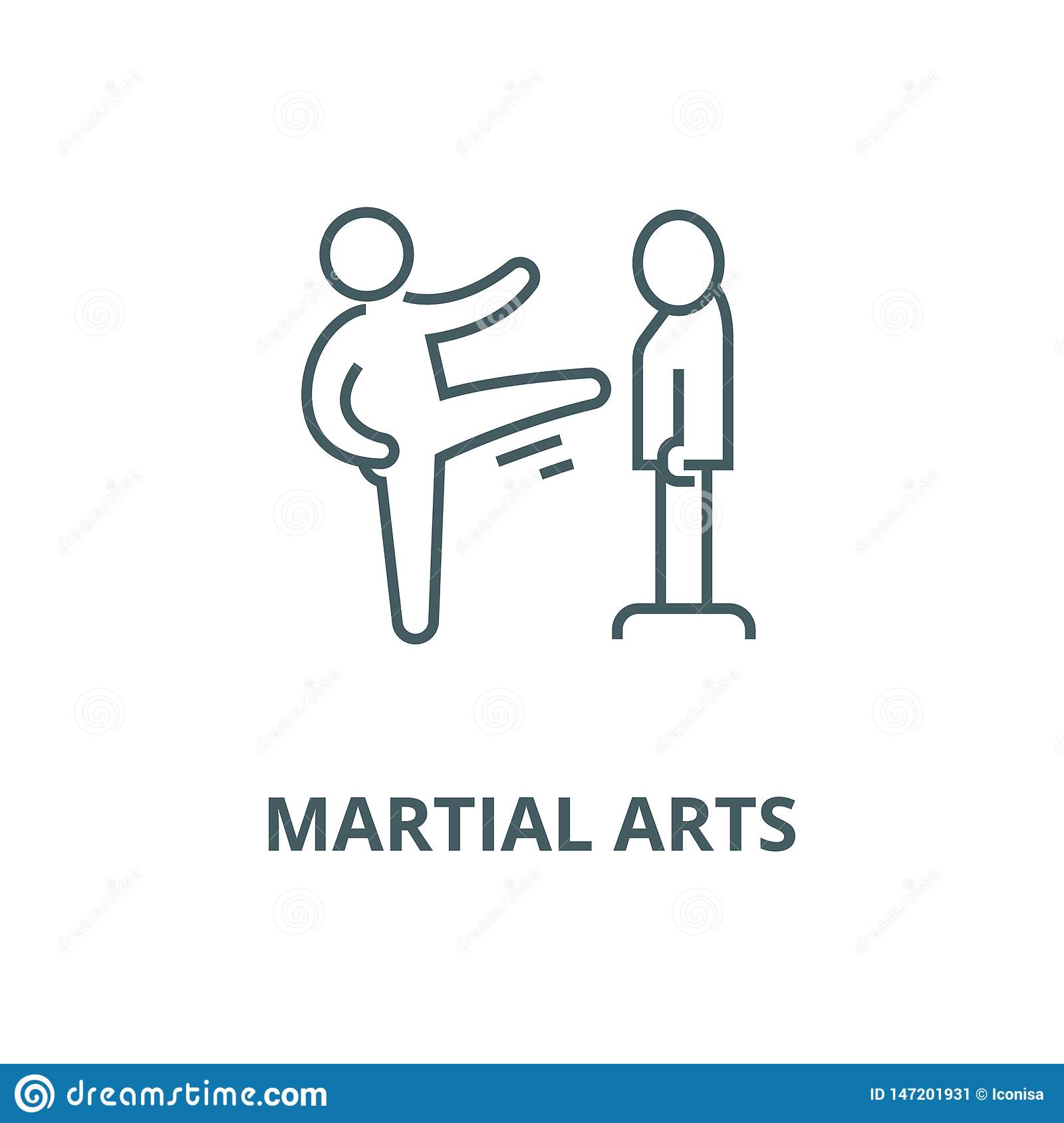Karate Martial Arts Kung Fu Tae Kwon Do Vector Line Icon