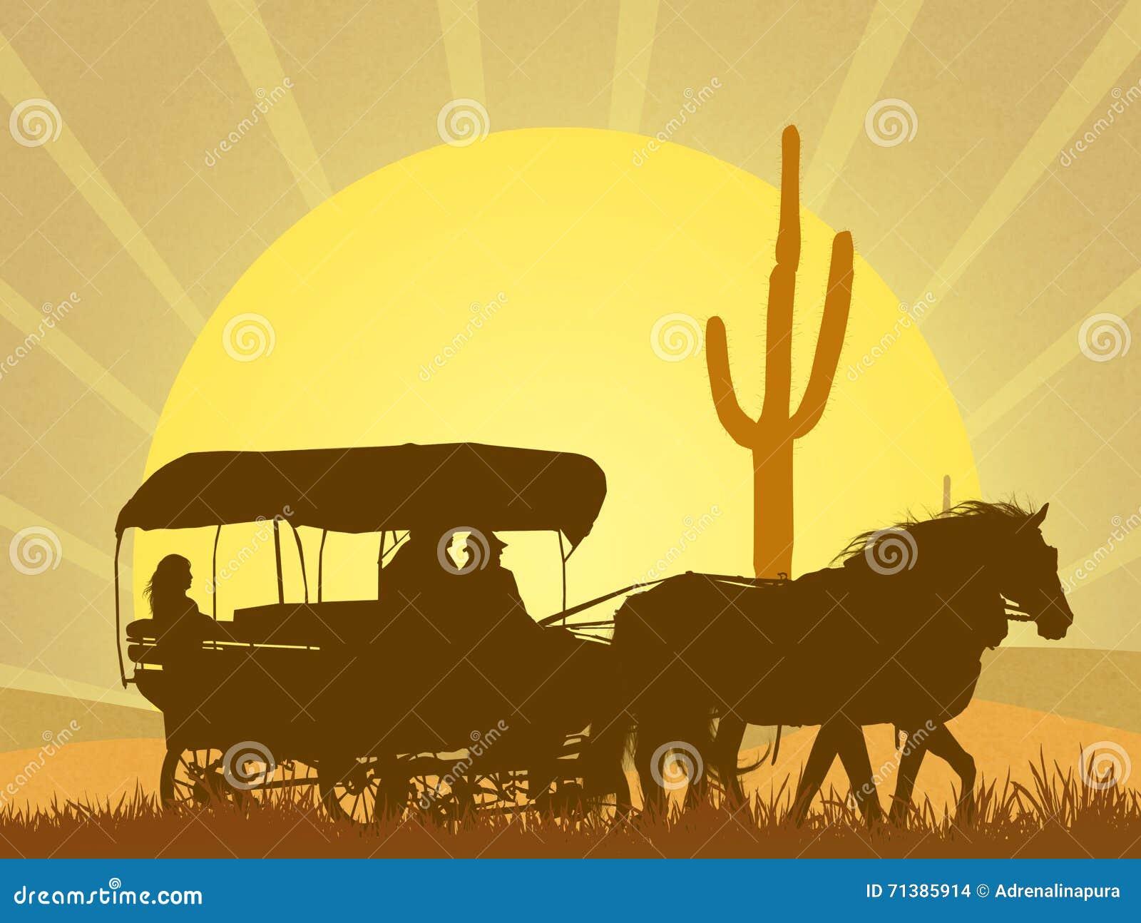 Karawana Dziki zachód w pustyni
