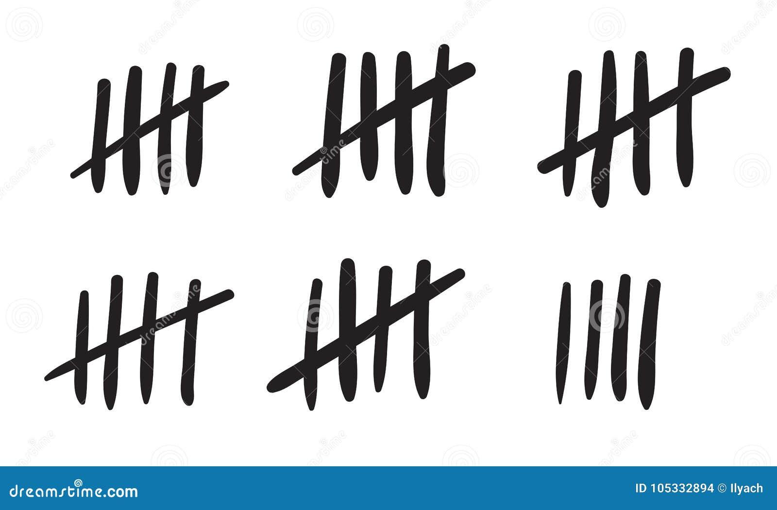 Karbownic ocen obliczenie lub więzienie ściana wtykamy linie sprzeciwiamy się Wektorowe hashmarks ikony więzienie lub pustynna wy