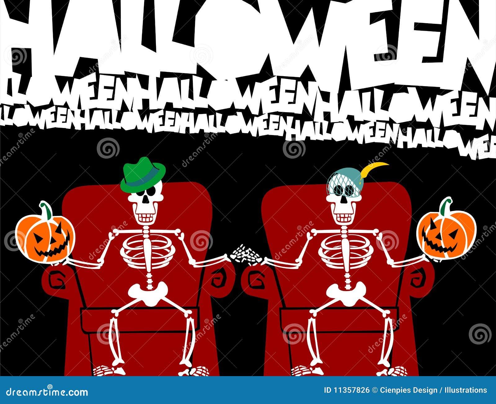 Karcianej pary śmieszny Halloween kościec