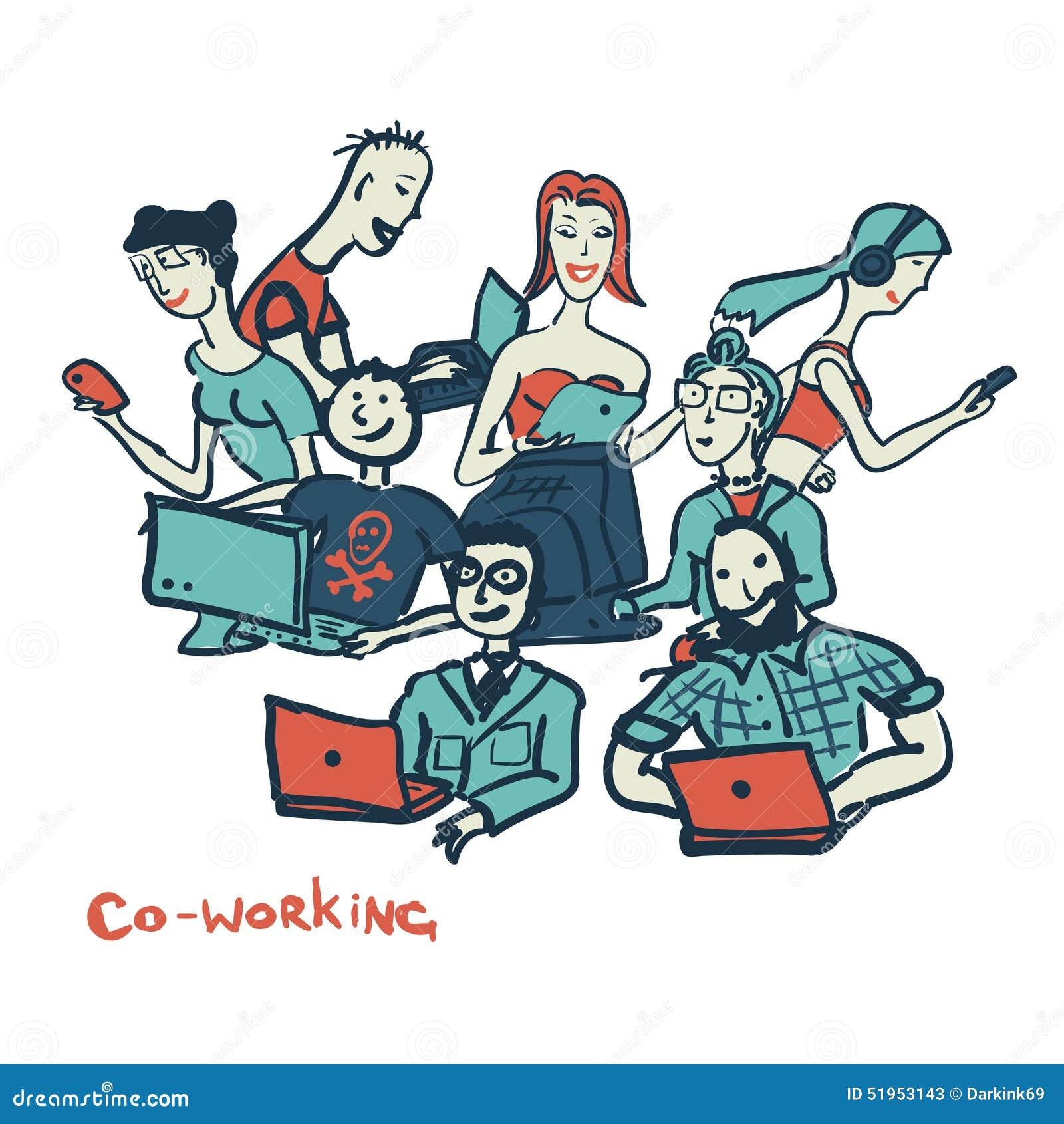 Karciany coworking z ludźmi wszystkie wieki z laptopami i komputerem