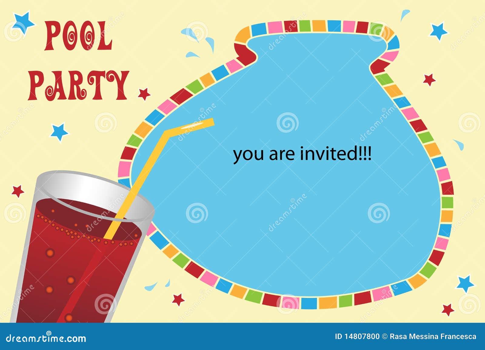 Karciany zaproszenia przyjęcia basen