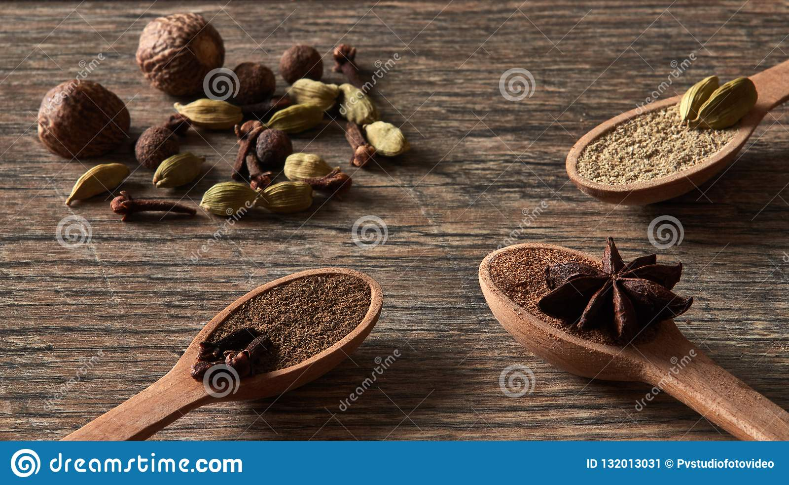 Kardemom, kruidnagels, notemuskaat, steranijsplant, pimentbes Verschillende types