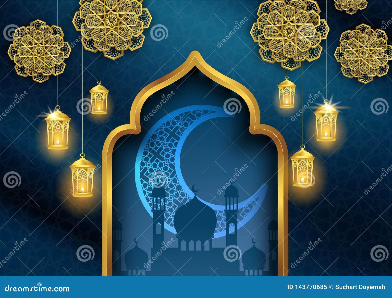 Kareem del Ramad?n o dise?o isl?mico de la tarjeta de felicitaci?n de Mubarak del eid con la linterna del oro