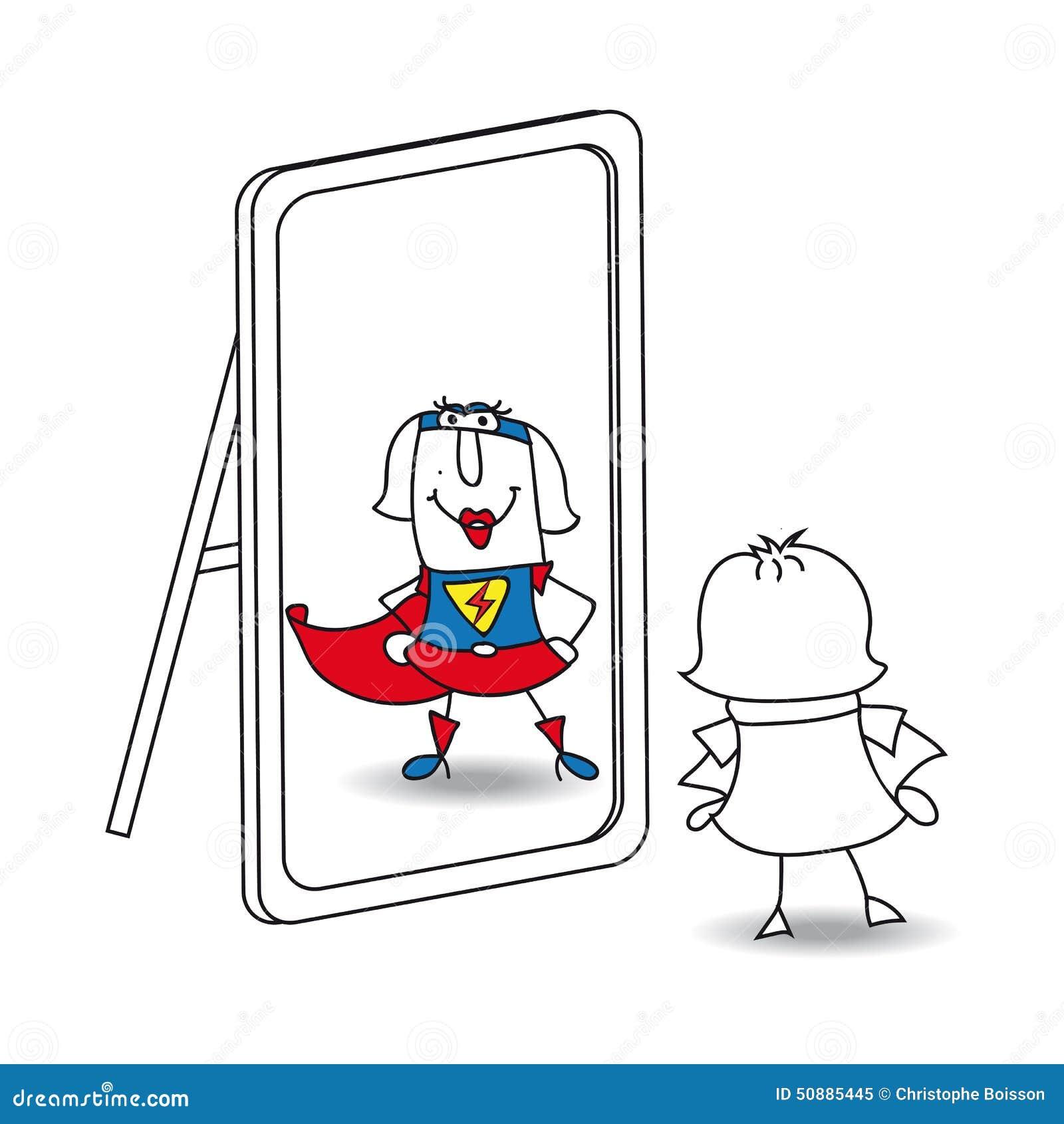 Karen Super Girl In The Mirror Stock Vector - Illustration ...
