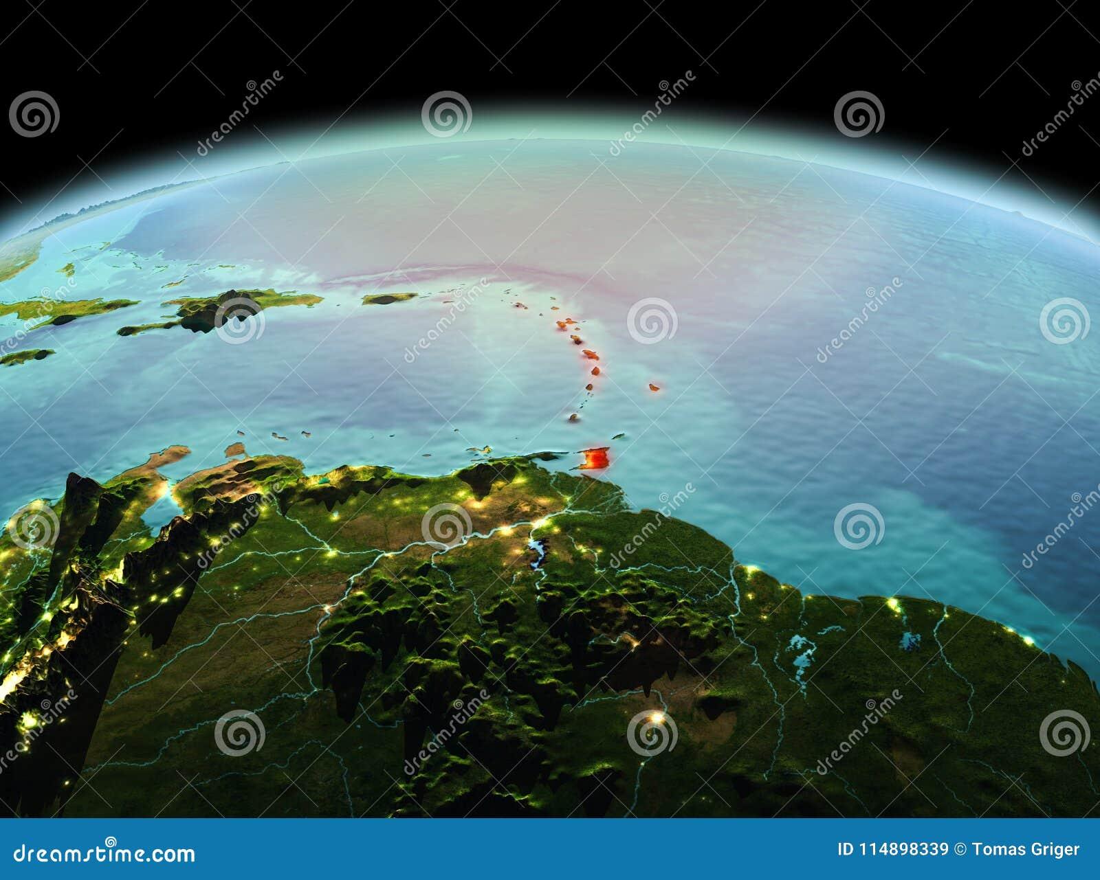 Karibische Meere auf Planet Erde im Raum