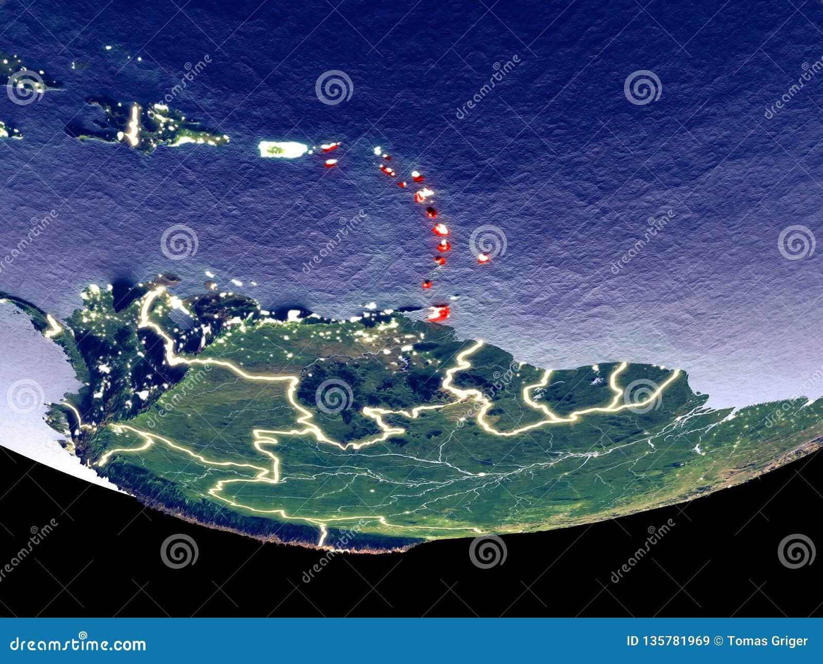Karibische Meere nachts vom Raum